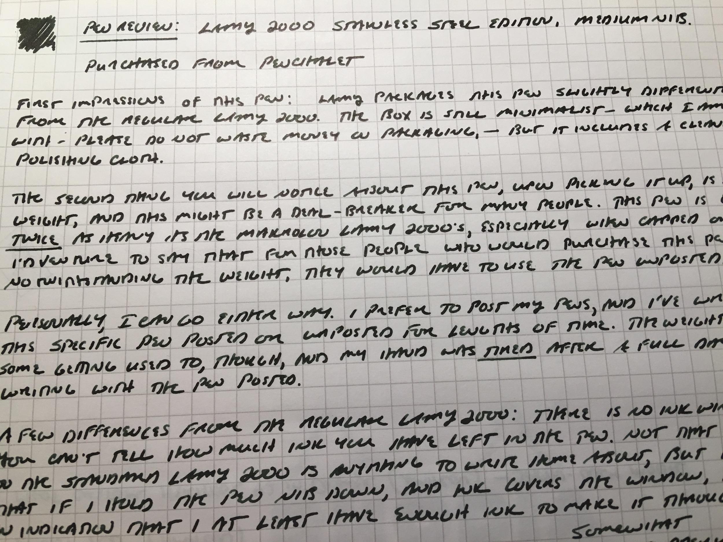 Lamy 2000 Medium Writing Sample