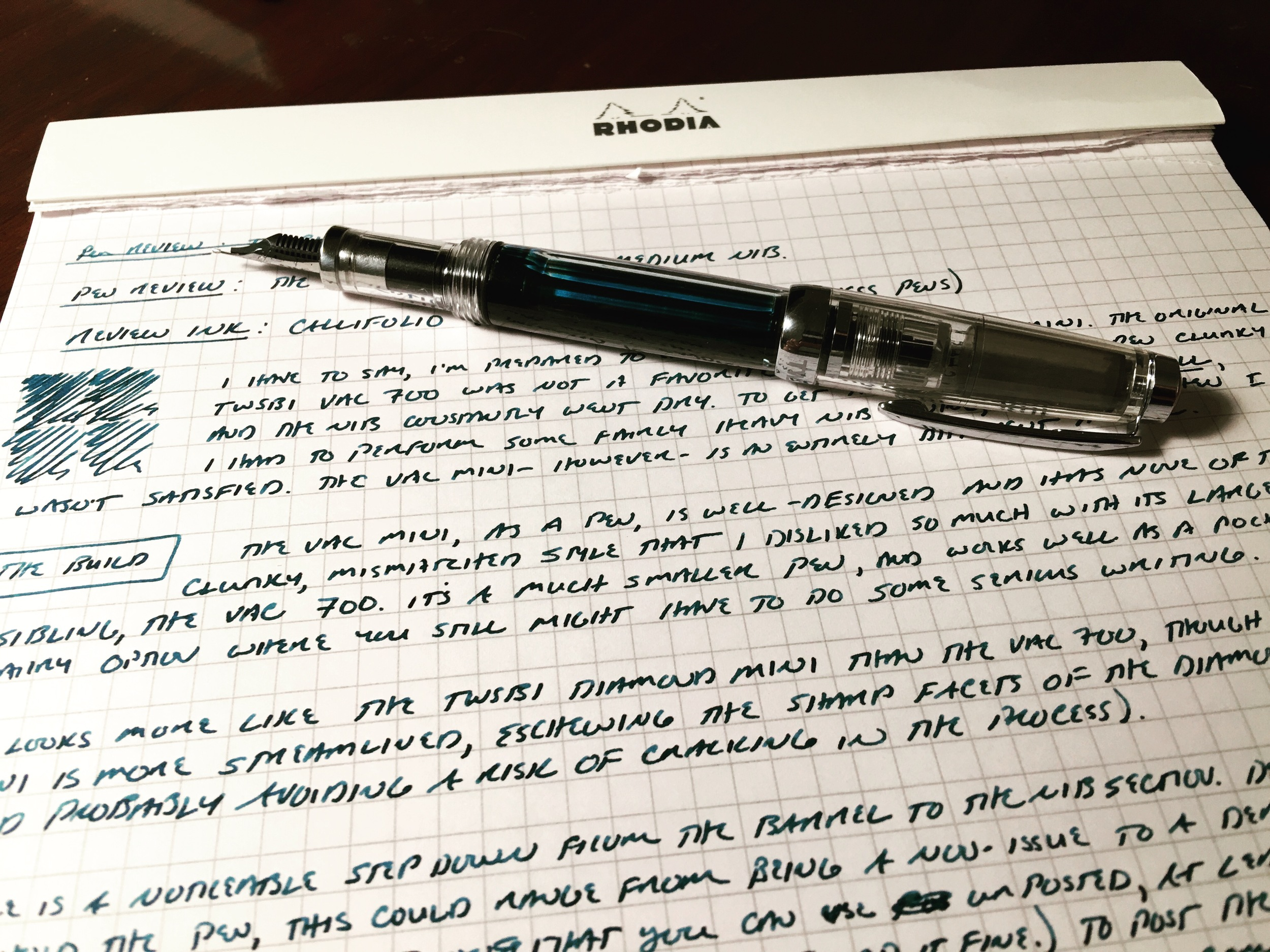The TWSBI Vac Mini, with a medium nib.  The ink used in this review is  Callifolio Equinoxe 6, from Vanness Pens .