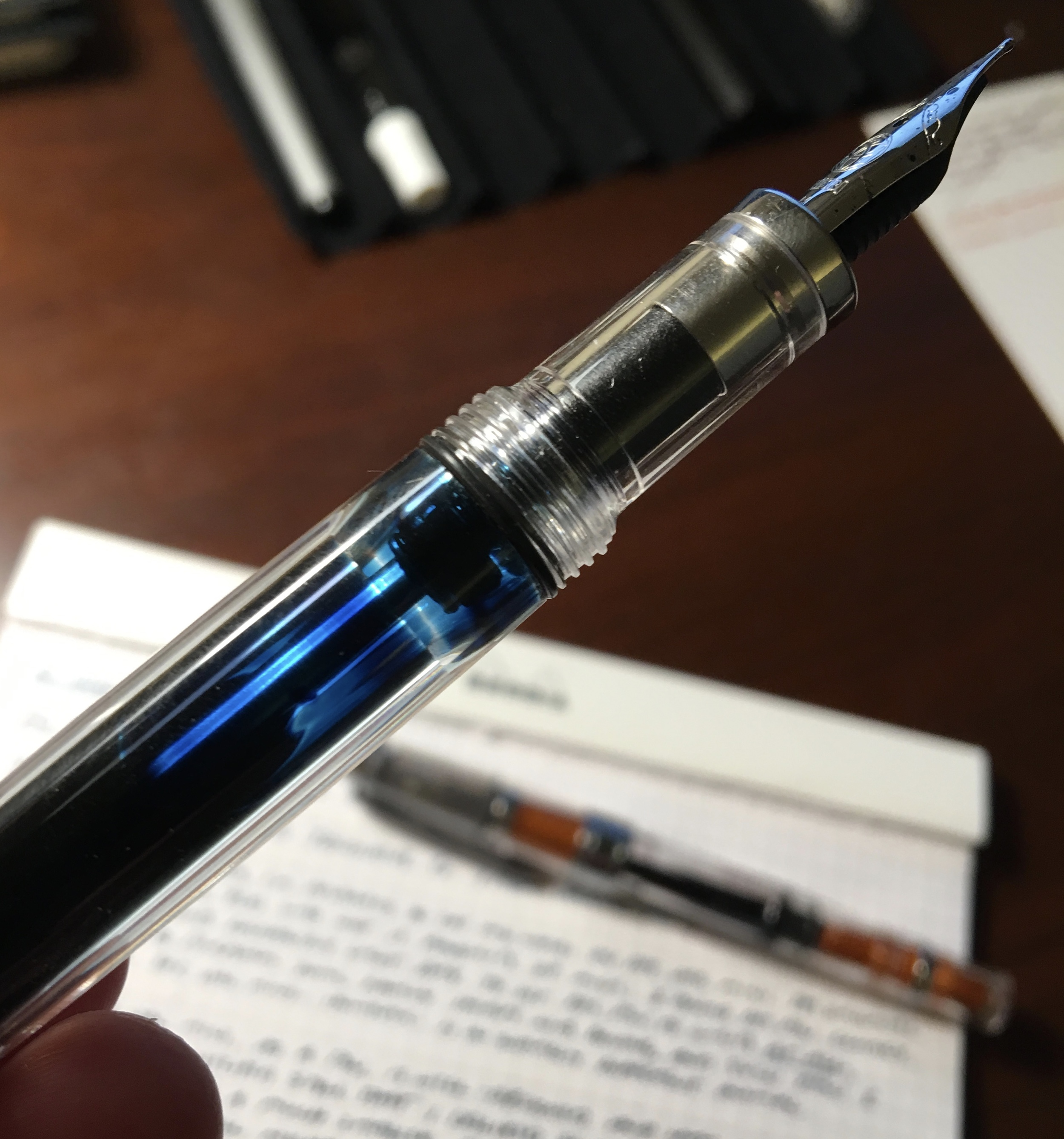 "A shot of the Vac Mini's streamlined aesthetics.  Note the slight, yet noticeable, ""step"" from the barrel to the nib section."