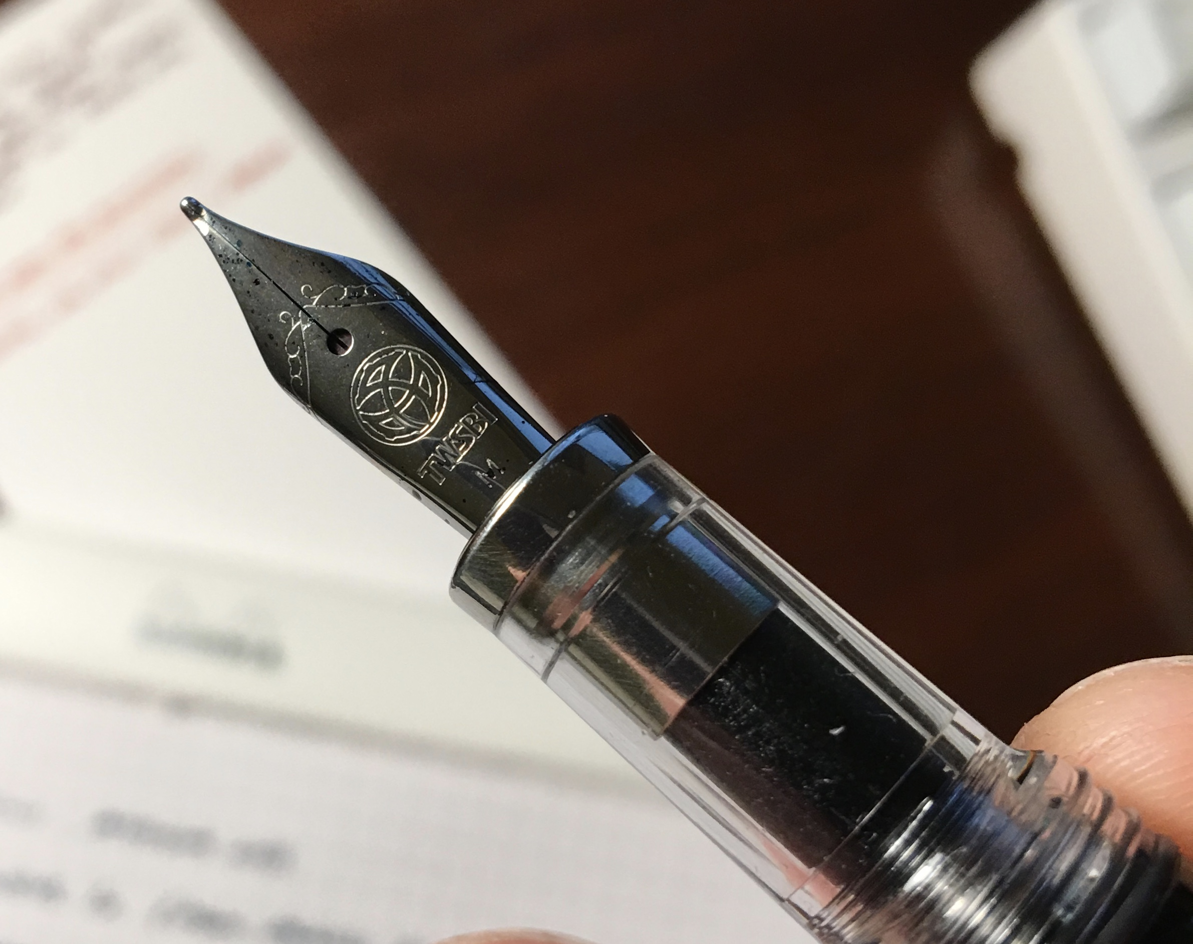 I've always liked TWSBI's nibs (now made by JoWo), and their logo engraved on the front. Unfortunately, I don't believe the Vac Mini nib units are interchangeable.