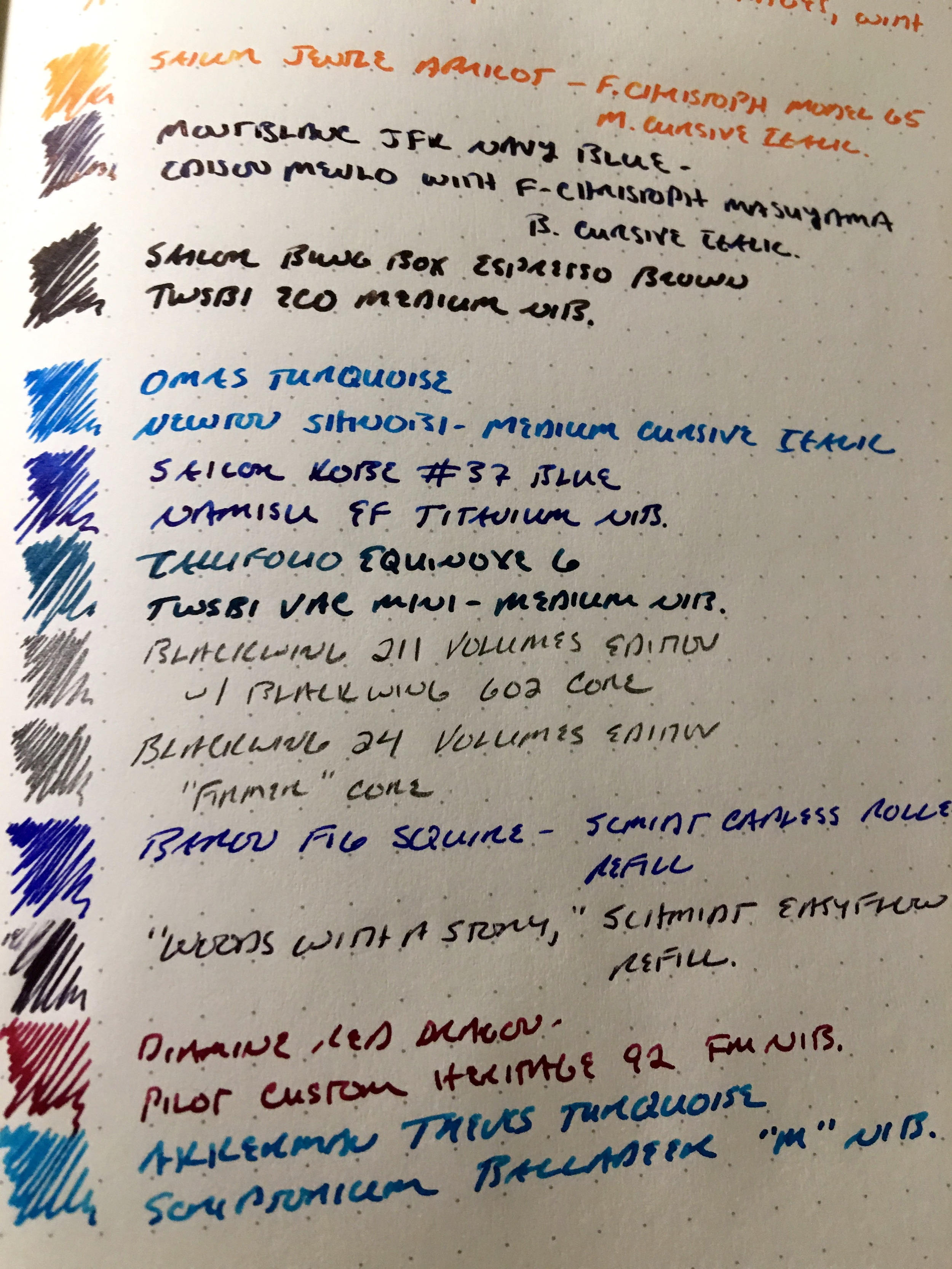 A dozen inks and pencils tested on a Leuchtturm 1917 A5 notebook, dot grid version.