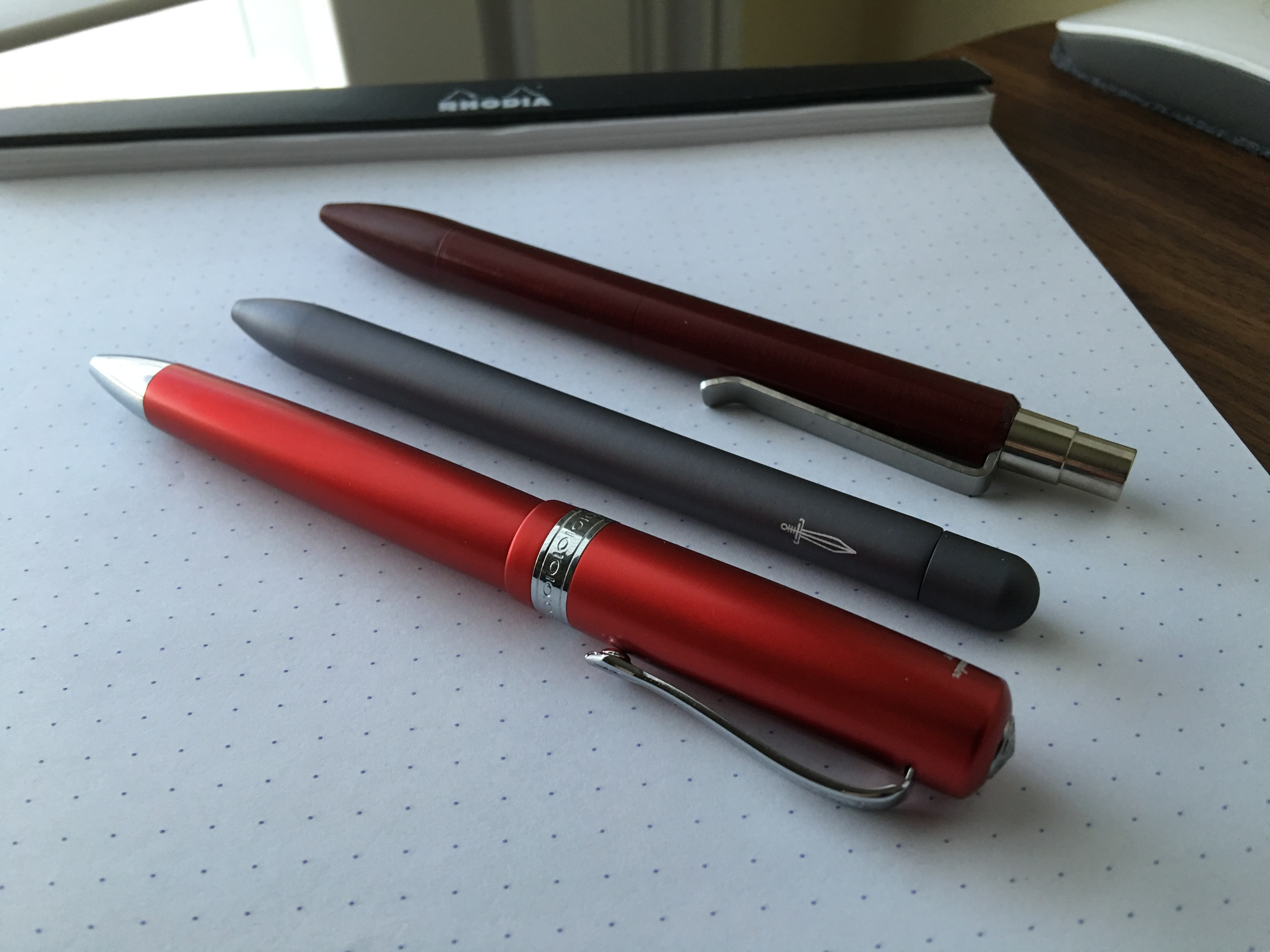 The Kaweco Allrounder ballpoint (bottom) compared to the  Baron Fig Squire  (middle) and the  Tactile Turn Mover  (top).
