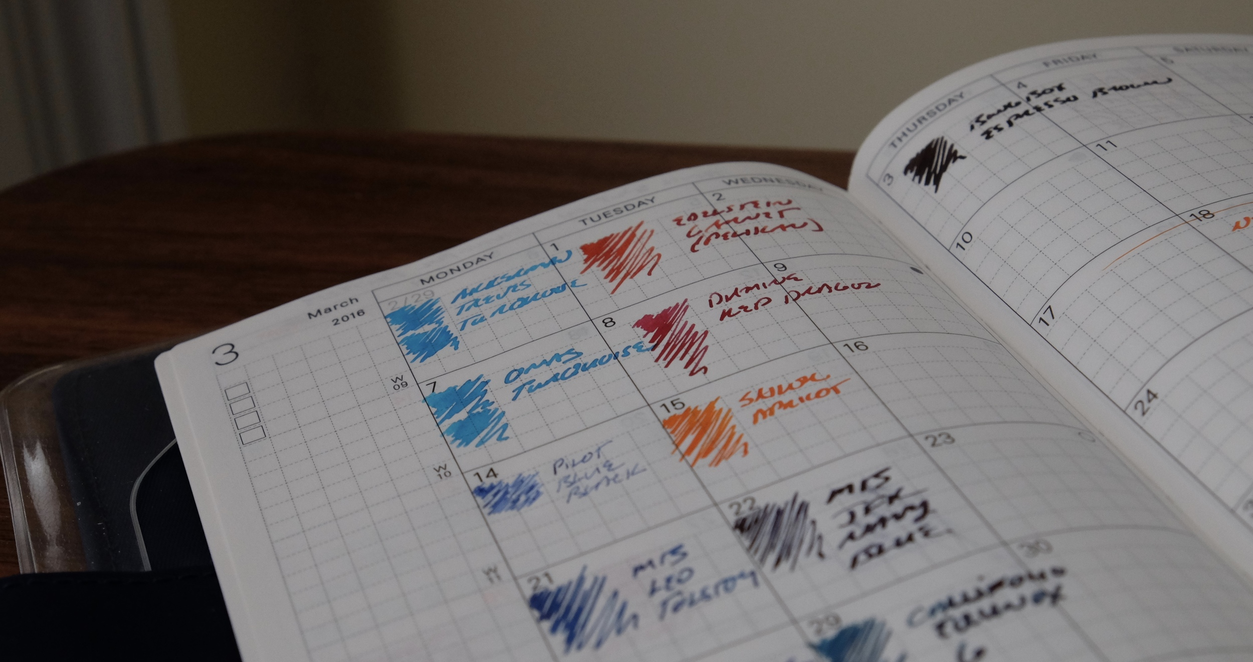 "The Hobonichi also contains over a year's worth of ""monthly"" pages at the front.  I use them for ink swabs to document what pens I have inked up with with which colors."