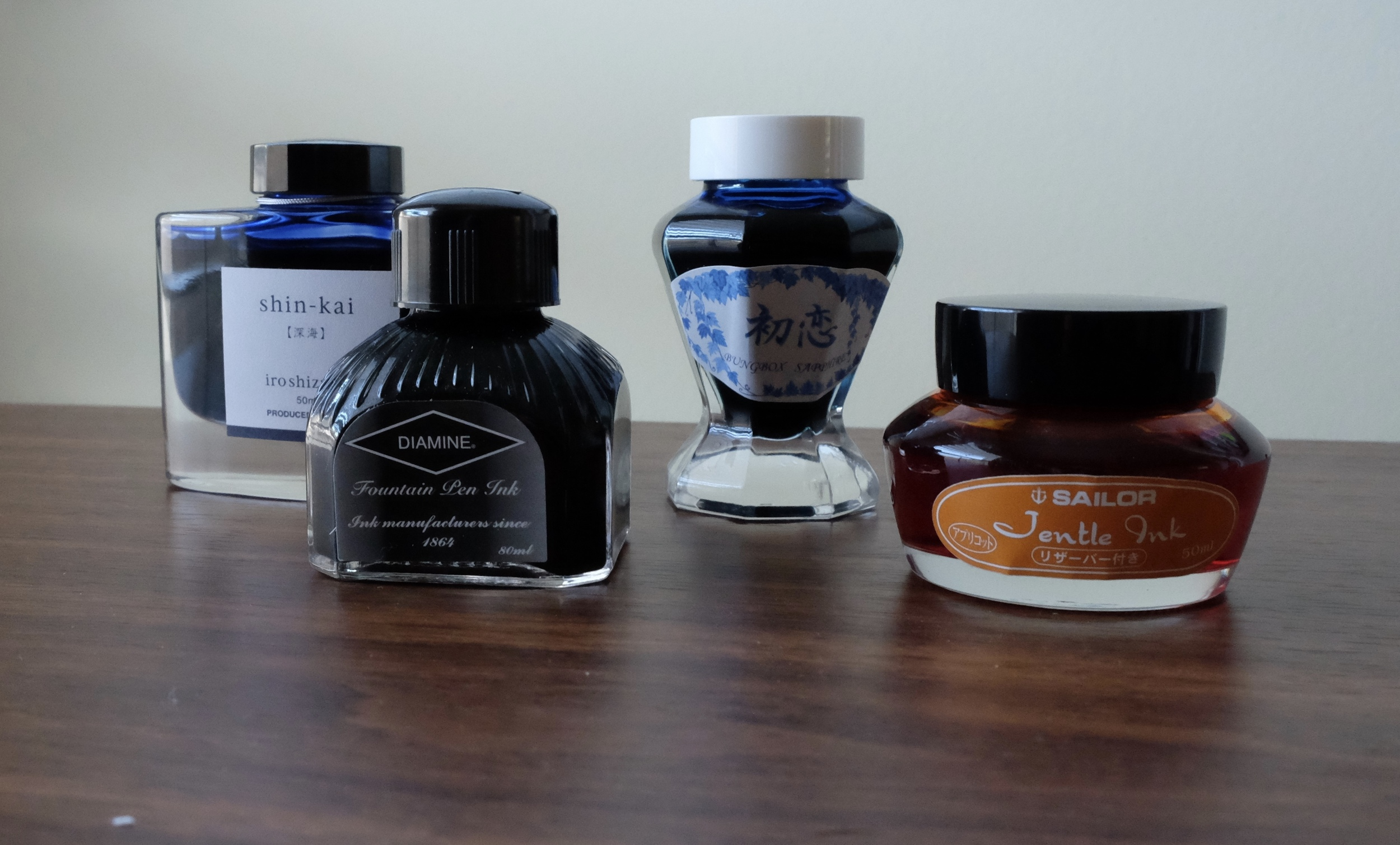A Few Favorite Brands, from left: Pilot, Diamine, and two Sailor Variants