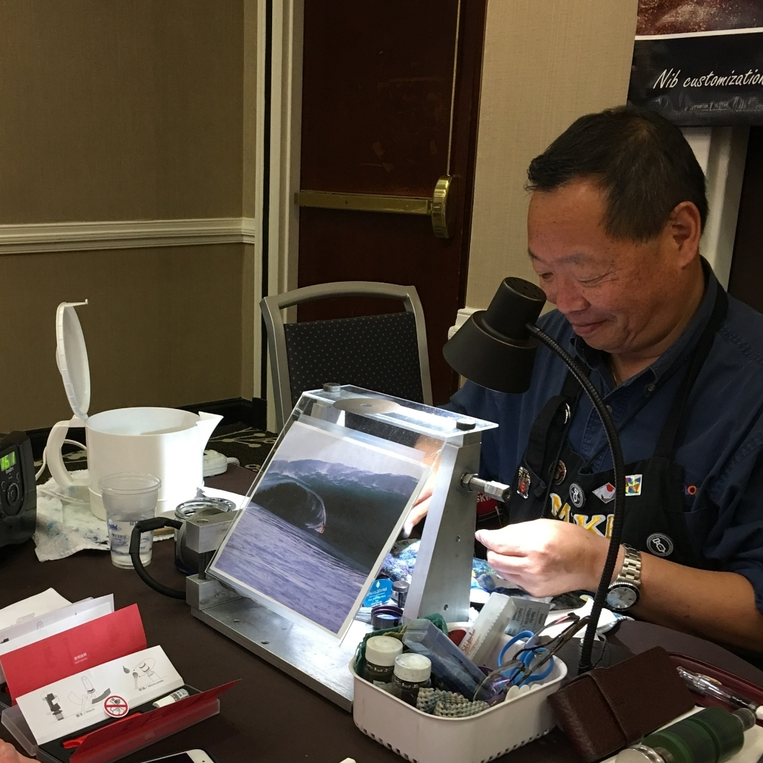 Mike Masuyama and his nib customization setup at the 2016 Atlanta Pen Show.