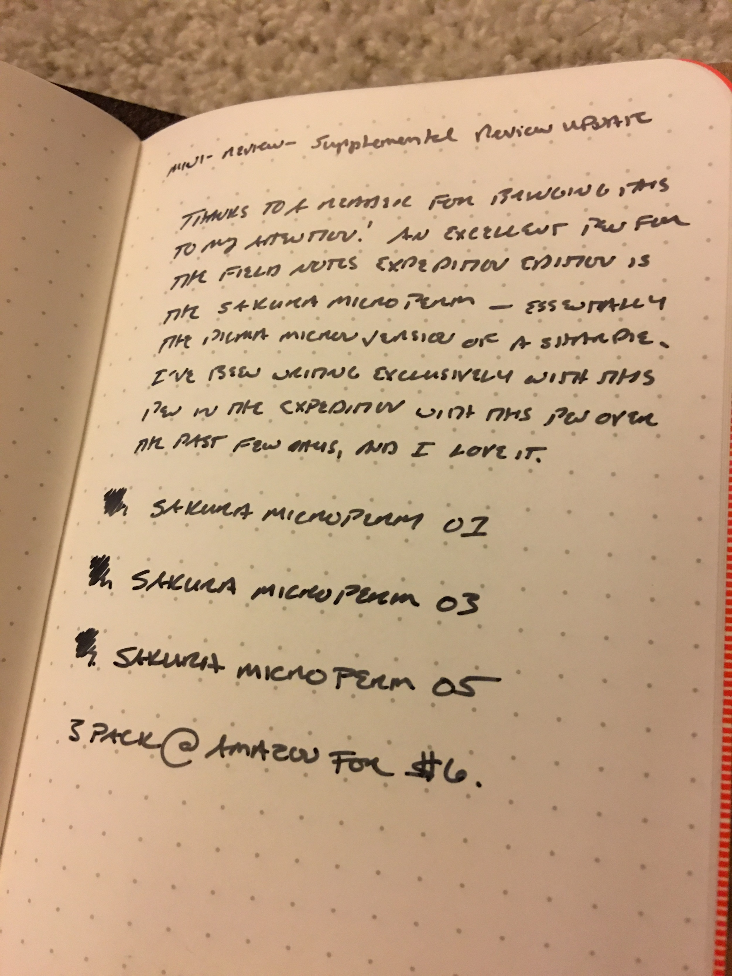 The Sakura Microperm 01 is my new pen of choice for the Field Notes Expedition edition.