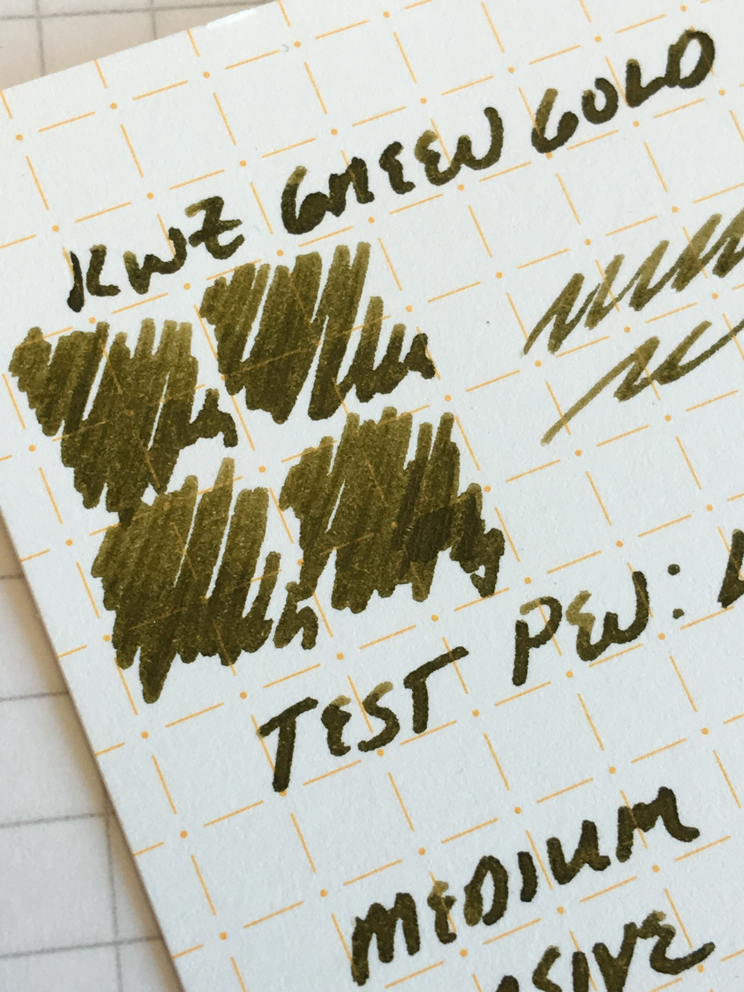 KWZ Green Gold, in a Lamy 2000 Stainless Steel medium cursive italic ground by  Mark Bacas .