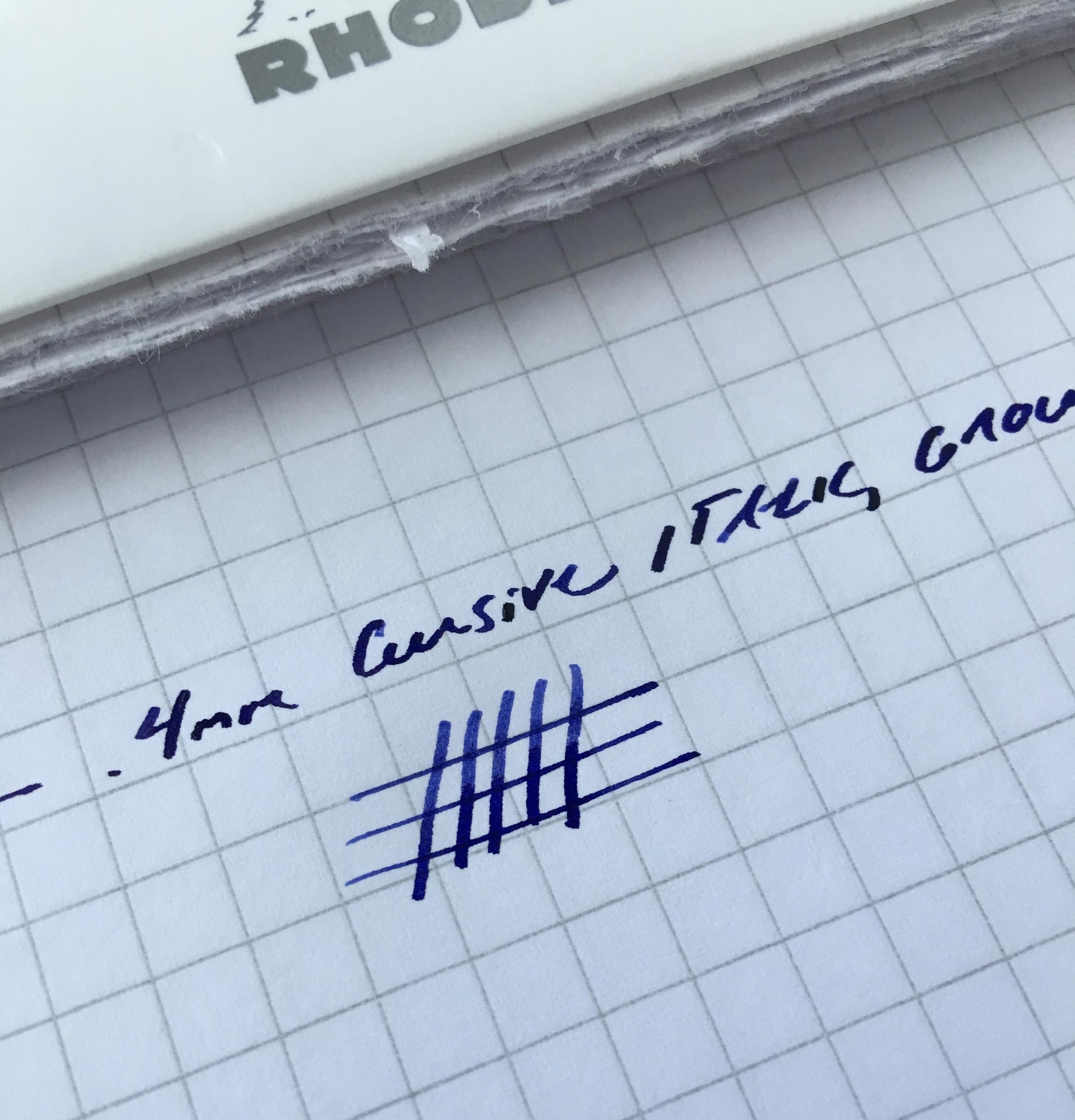 This .4mm cursive italic (formerly a medium nib) writes perfectly for me. Ink is Aurora blue.