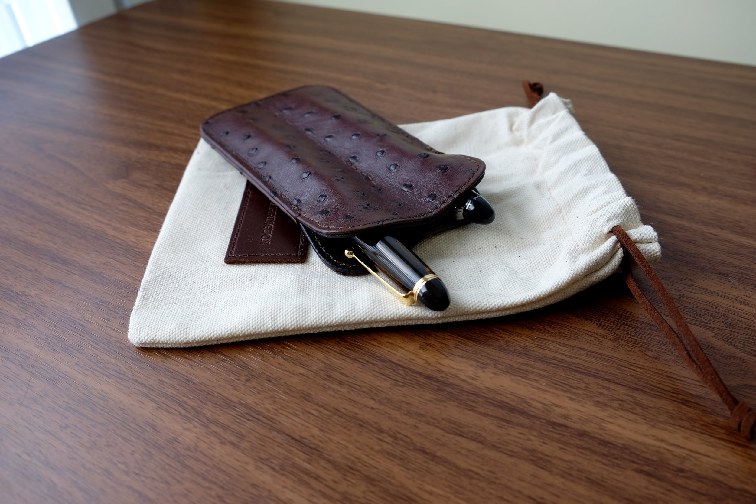 Tom Barrington sent over this gorgeous dark brown ostrich leather pen sleeve for review.
