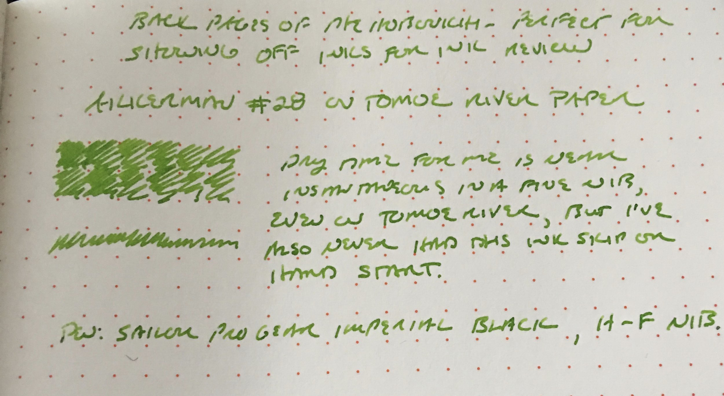 A broader shot of the Akkerman #28 writing sample on Tomoe River Paper.
