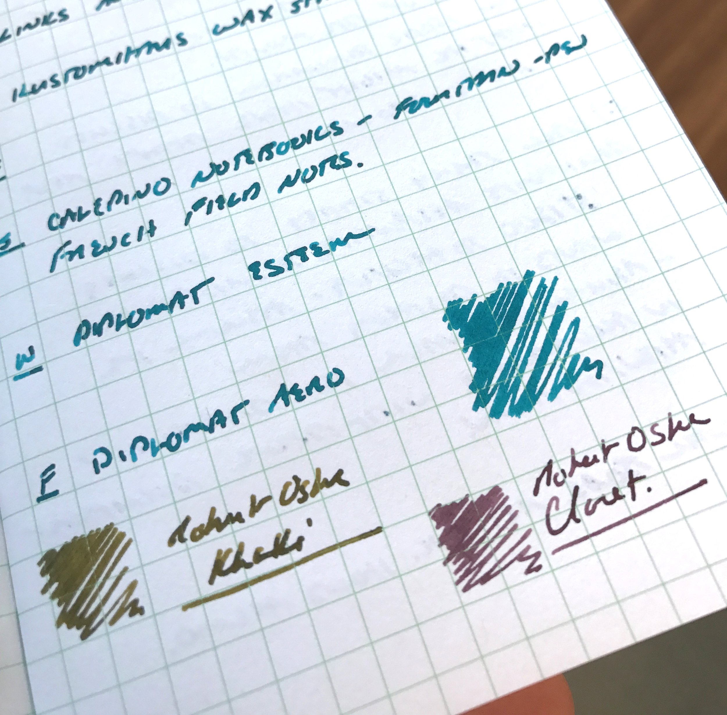 """Here's another """"action shot"""" of Robert Oster Tranquility, Khaki, and Claret on Calepino notebook paper. This picture shows off the shading a bit better than some of the other writing samples, especially in the Tranquility and Khaki."""