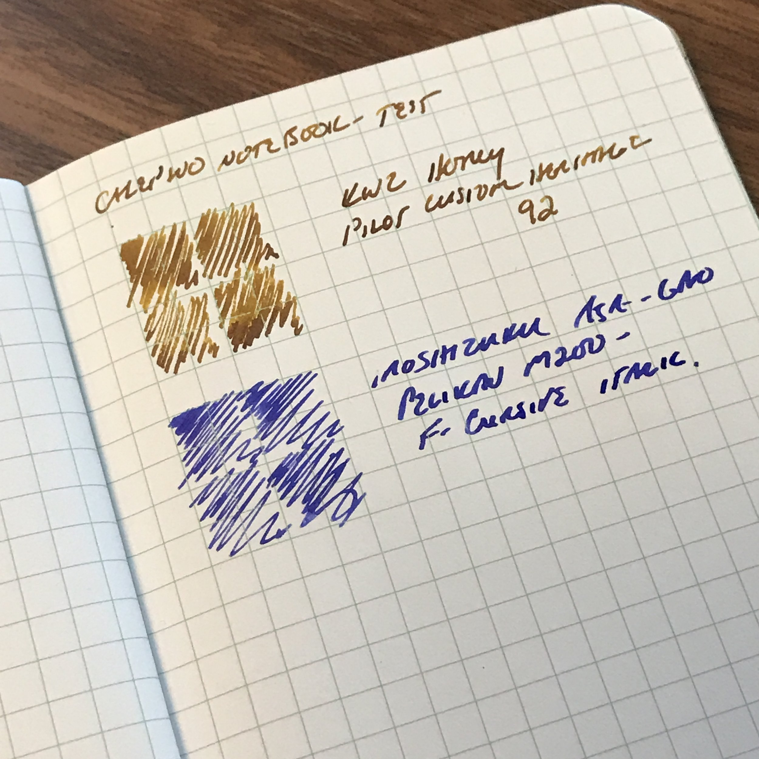 A writing sample on the Calepino notebook paper with two fairly wet fountain pens:  a Pilot Custom Heritage 92  with a FM nib and  a Pelikan M205  with a wet fine cursive italic. Note the lack of feathering.