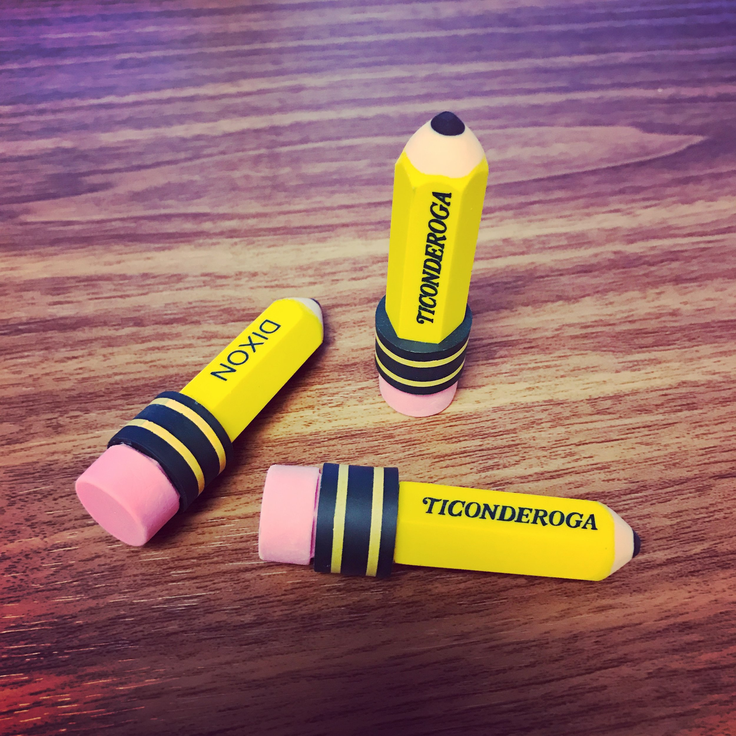 Office Mall also sells these awesome pencil-shaped Ticonderoga erasers.