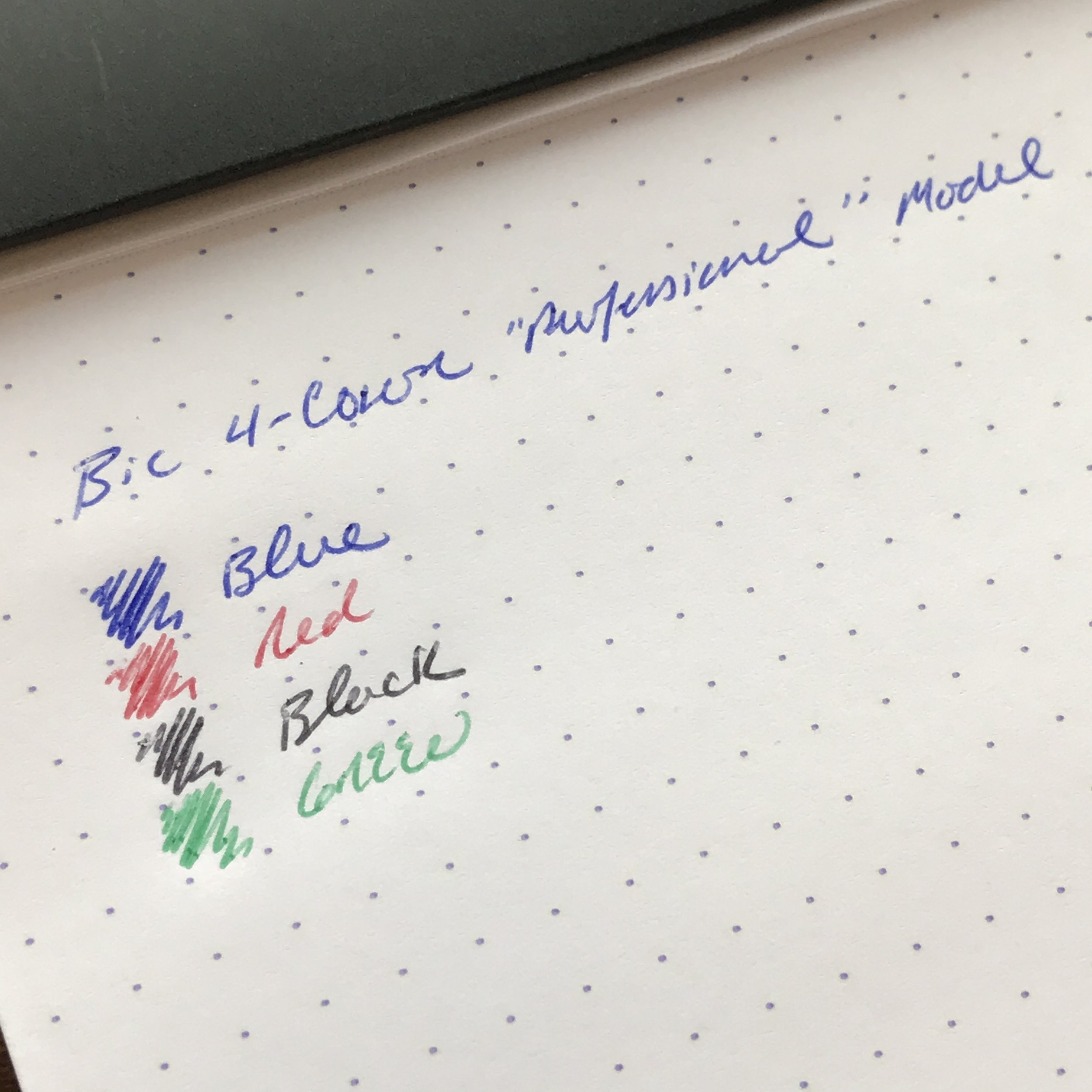 I generally like the Bic refills better than the stock Lamy multi pen refills, with the exception of the green, which tends to be washed-out and gloppy.