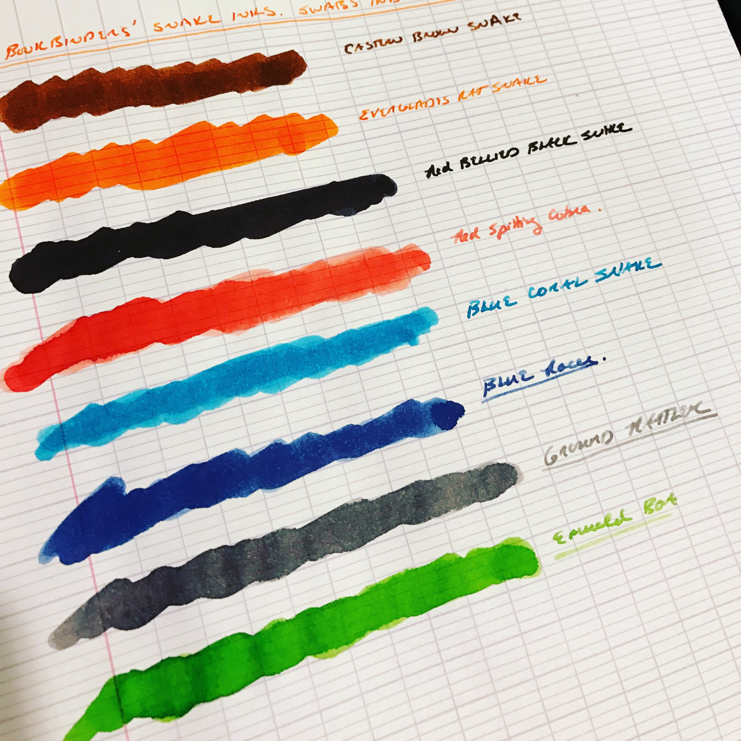 Q-tip swabs on the left, dip-pen writing samples on the right. Check out the vibrancy!