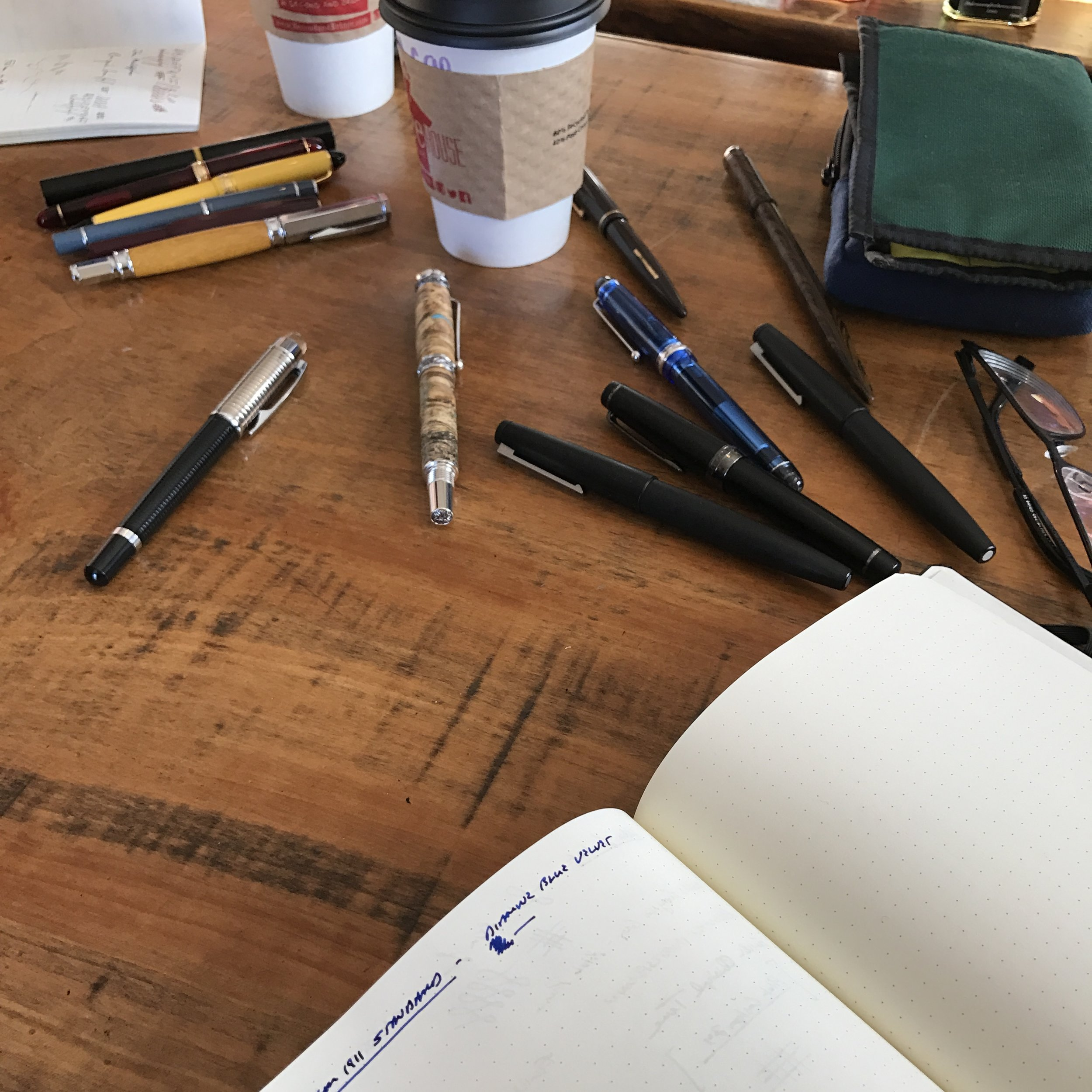 Pens all over the place! A shot from yesterday's meet-up of the Middle Tennessee Pen and Stationery Group.