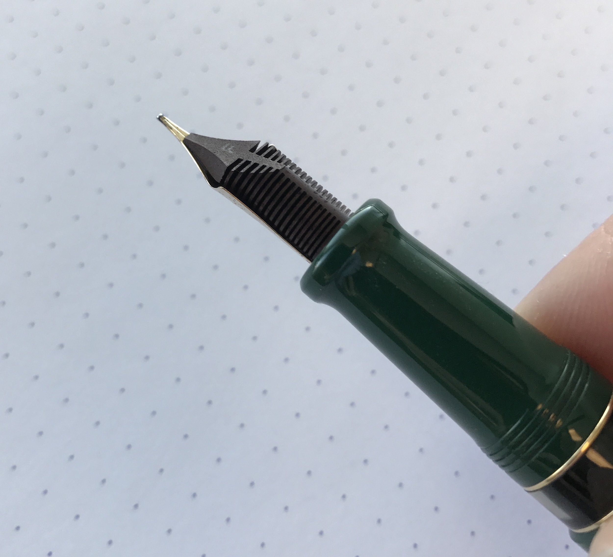 The Aurora 88 flex nib is fitted with an ebonite feed so that the ink flow keeps up with the nib. The 88 also has a nice big ink window so you can see when you need to refill.
