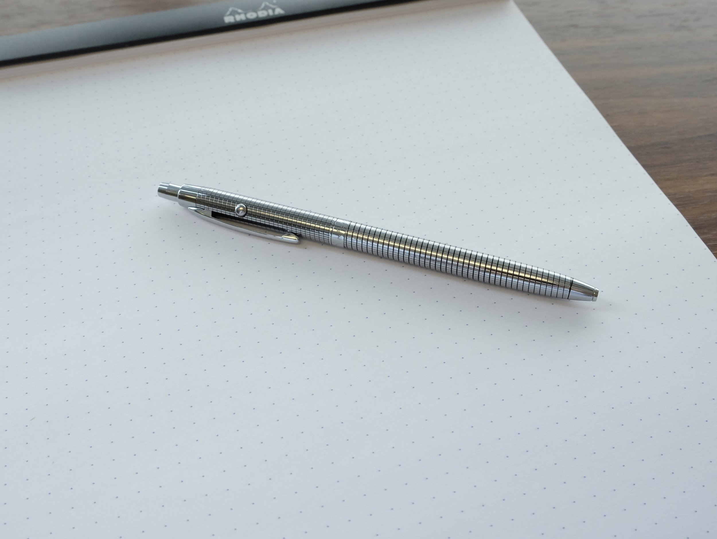 """The Fisher Space Pen Astronaut """"Shuttle"""" pen with the black grid design. Aesthetically, this is one of my favorite models of the Space Pen."""