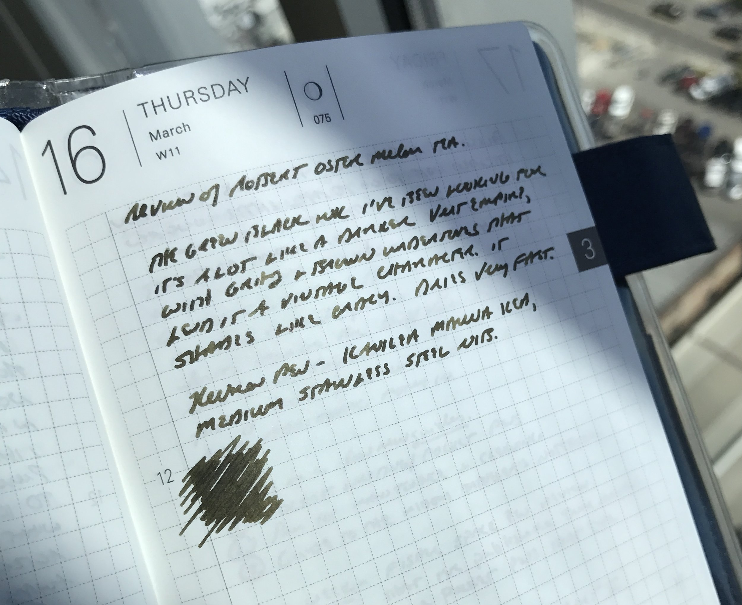 A writing sample on Tomoe River paper from my Hobonichi Planner. The pen used here was my Kanilea Pen Co. Mauna Kea with a medium nib.