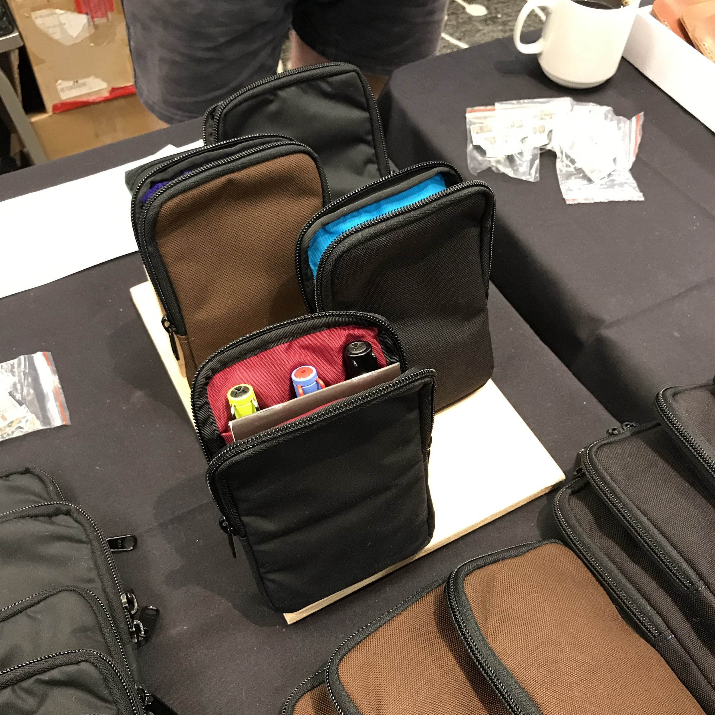 It wouldn't be the Atlanta Pen Show without Nock Co. show specials. Check out the show special Sinclair, featuring black waxed canvas exterior with red interior. I grabbed that right away!