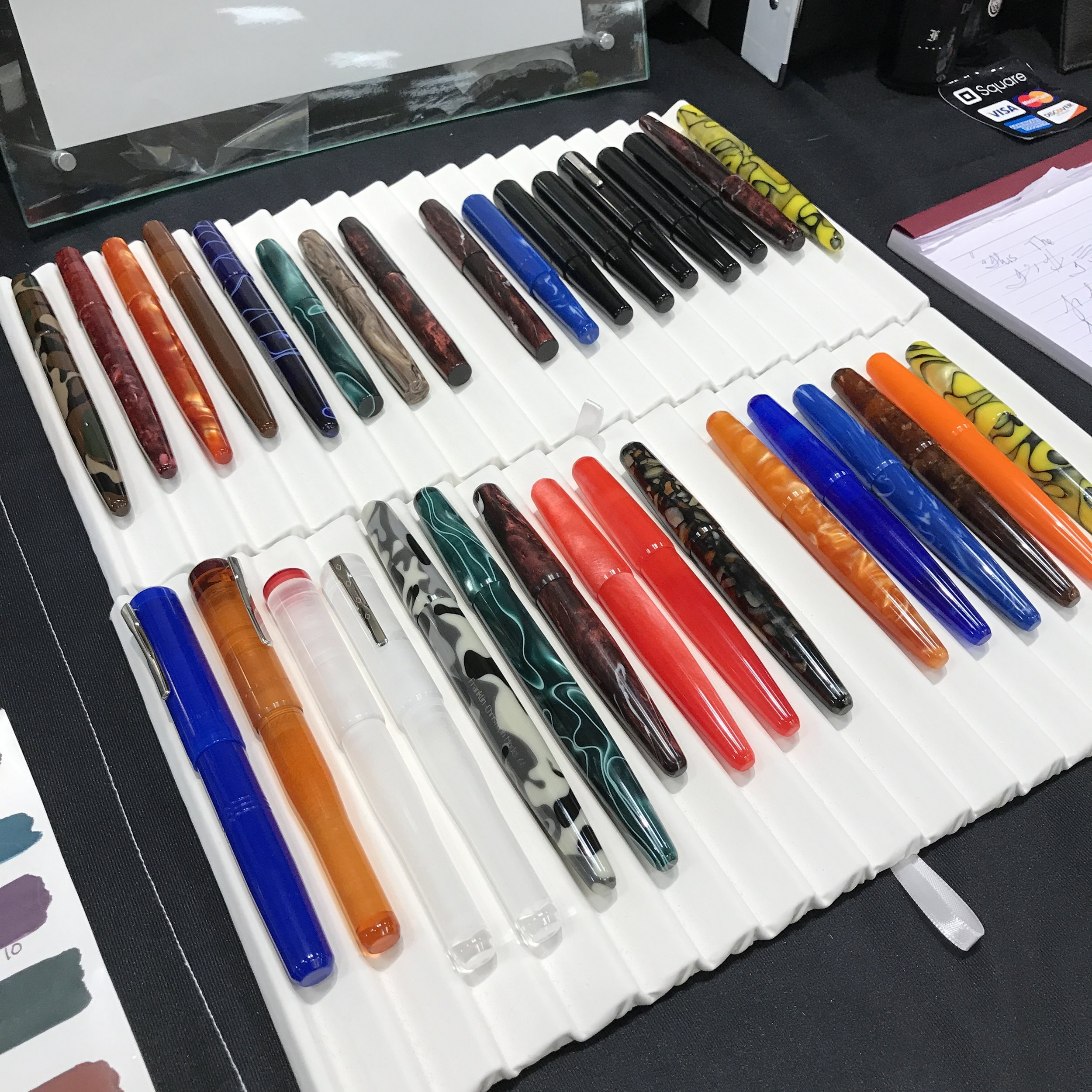 The Franklin-Christoph prototype acrylics that were left on Sunday. A couple of these tempted me, but I ultimately went with one of their Fantasy Sheaffer Legacies (more below).