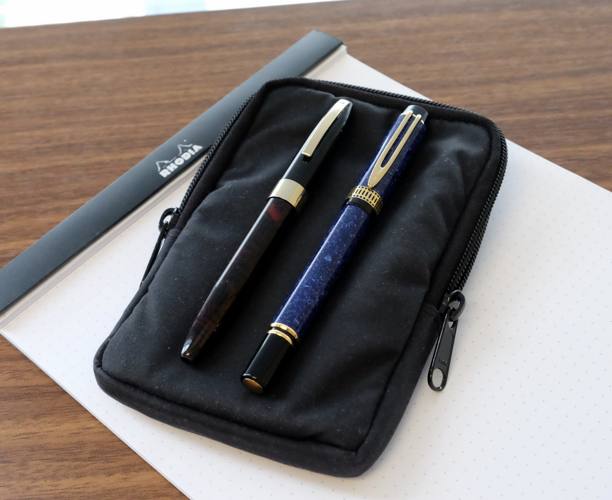 My two 2017 Atlanta Pen Show Takeaways: A Sheaffer Legacy Heritage (left) and a Waterman Patrician in Lapis Blue (Right).