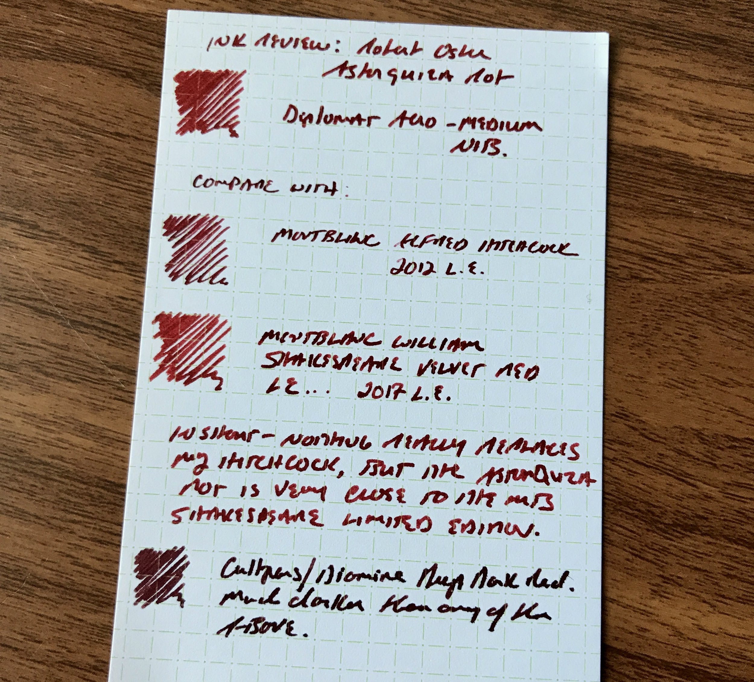 Robert Oster Astorquiza Rot (top) compared against three other red inks: Montblanc Alfred Hitchcock 2012 L.E., William Shakespeare Velvet Red (current L.E.), and the  Diamine/Cult Pens collaboration Deep Dark Red .