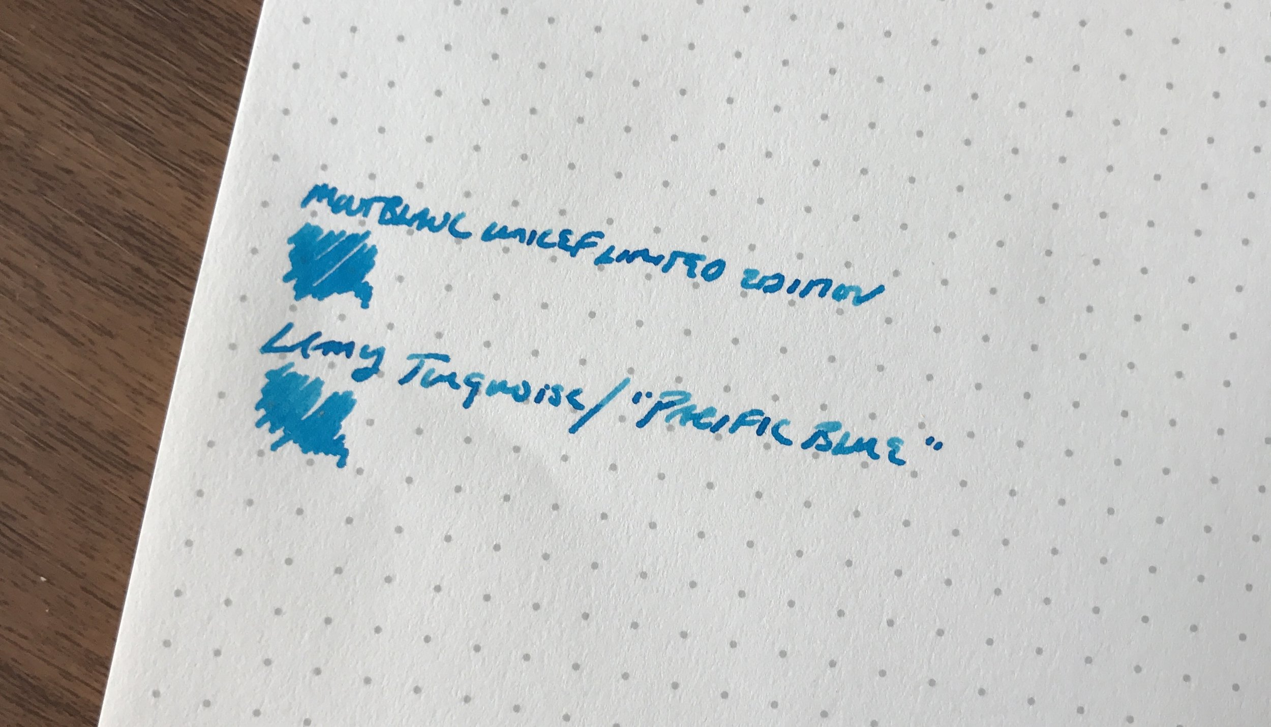 A comparison shot of Lamy Turquoise against the new Montblanc UNICEF Blue. They look very similar, though the Montblanc looks slightly richer and a bit more saturated in person.