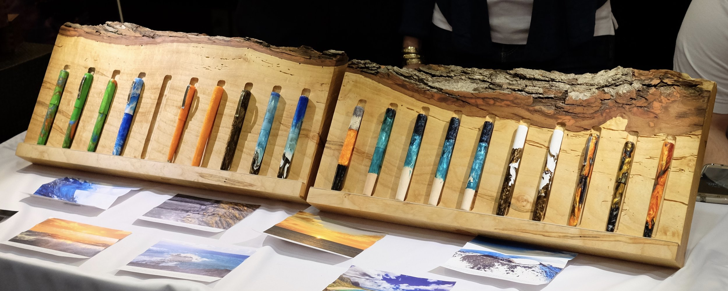 The selection of Kanilea pens available at the Baltimore Pen Show, to hold and test out. (Less one Mauna Kea...)