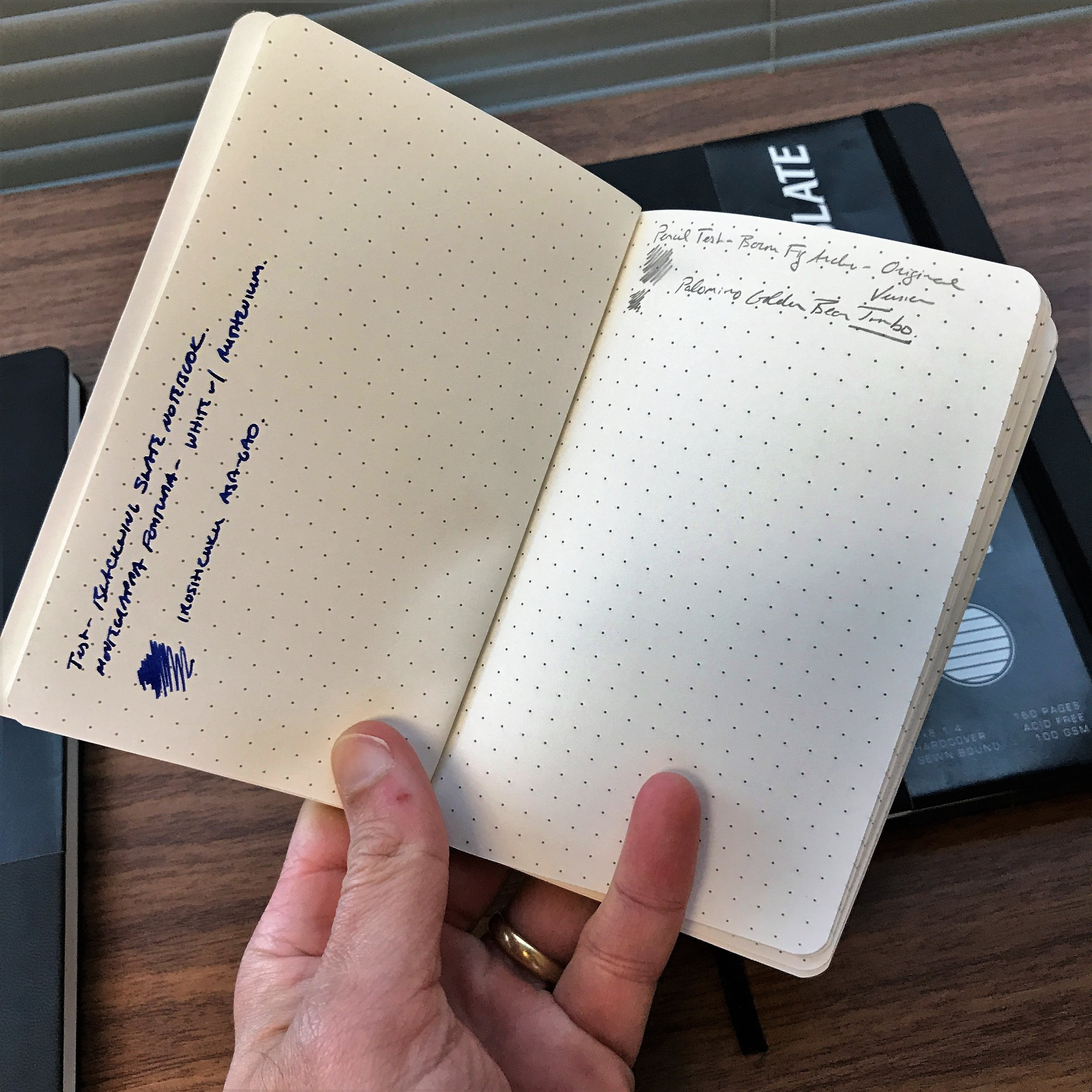 An interesting aspect of the Clutch is that Blackwing recommends you write with the notebooks longways (i.e., as reflected in the writing sample on the left).