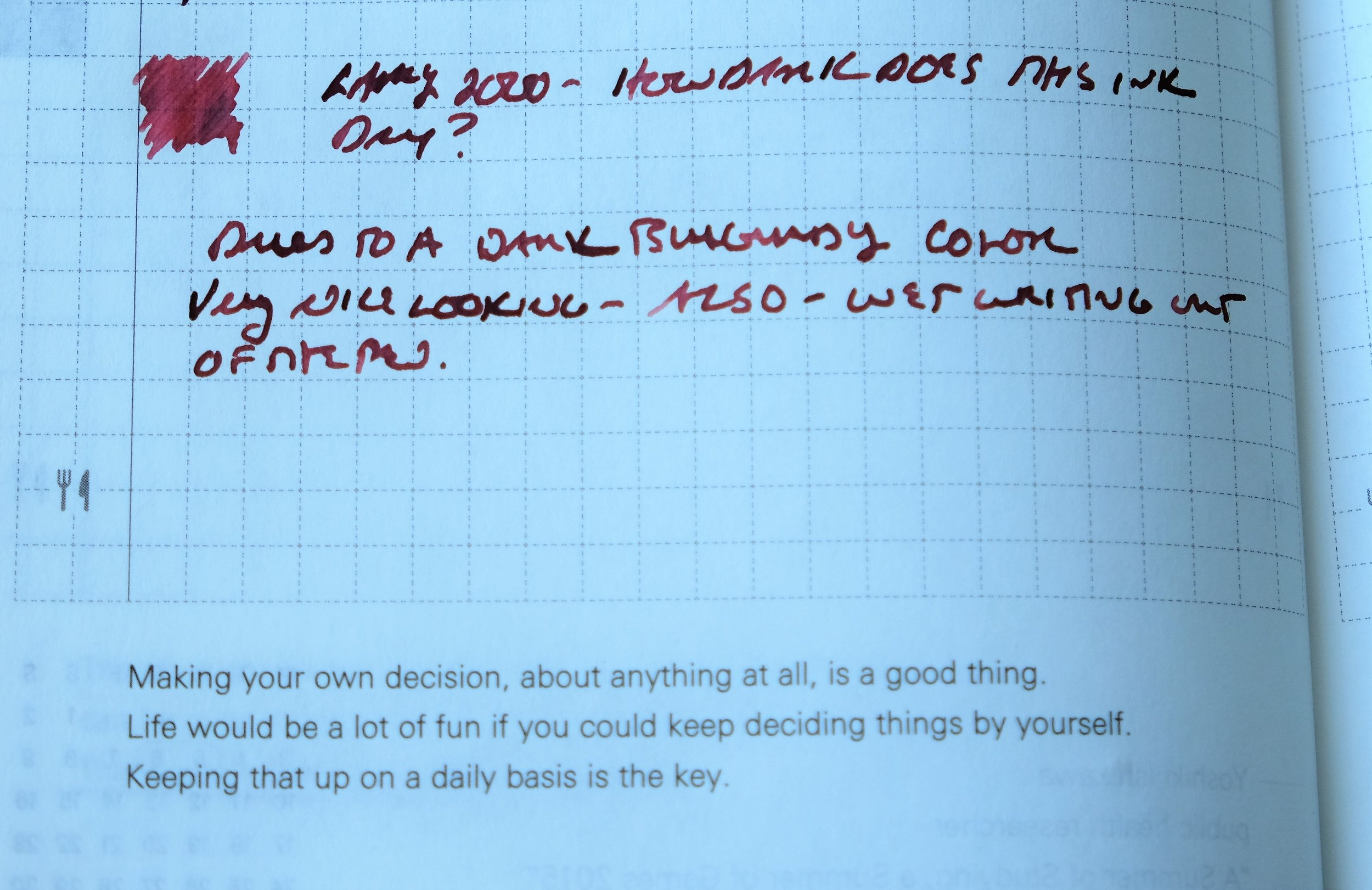 Another writing sample in my Hobonichi Planner.