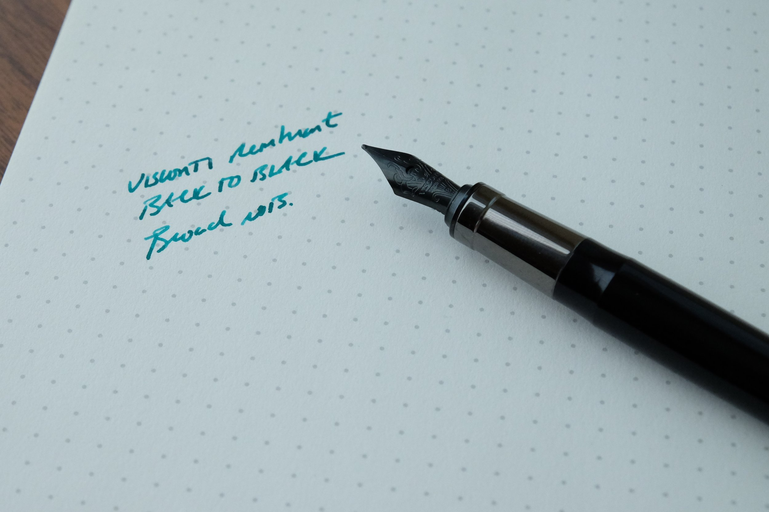 This broad nib definitely needs to be smoothed and have the ink flow increased. The ink is  Kaweco Paradise Blue .