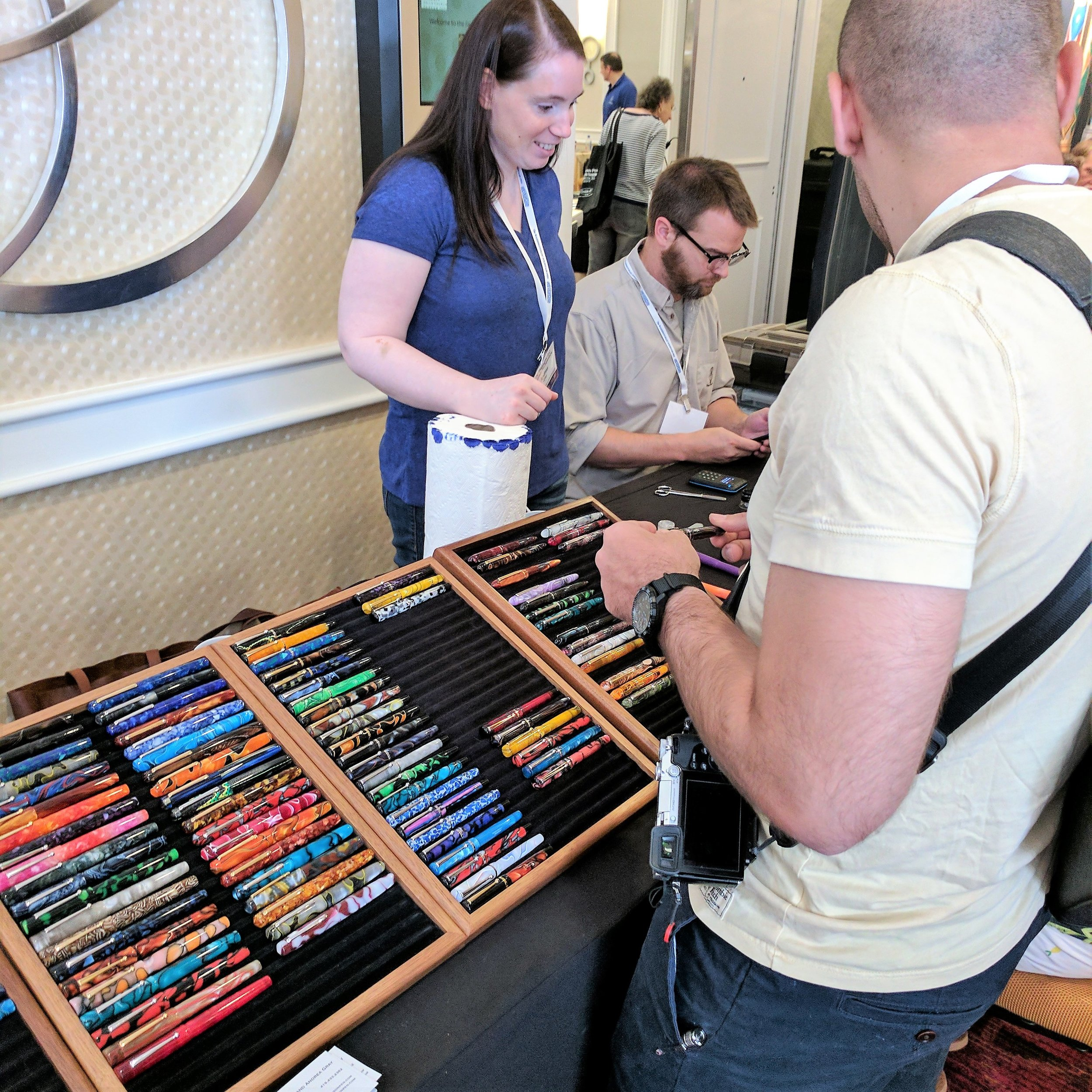 As always, Brian and Andrea Gray of the  Edison Pen Company  stayed busy at their table. They brought a large selection of custom pens to the show.