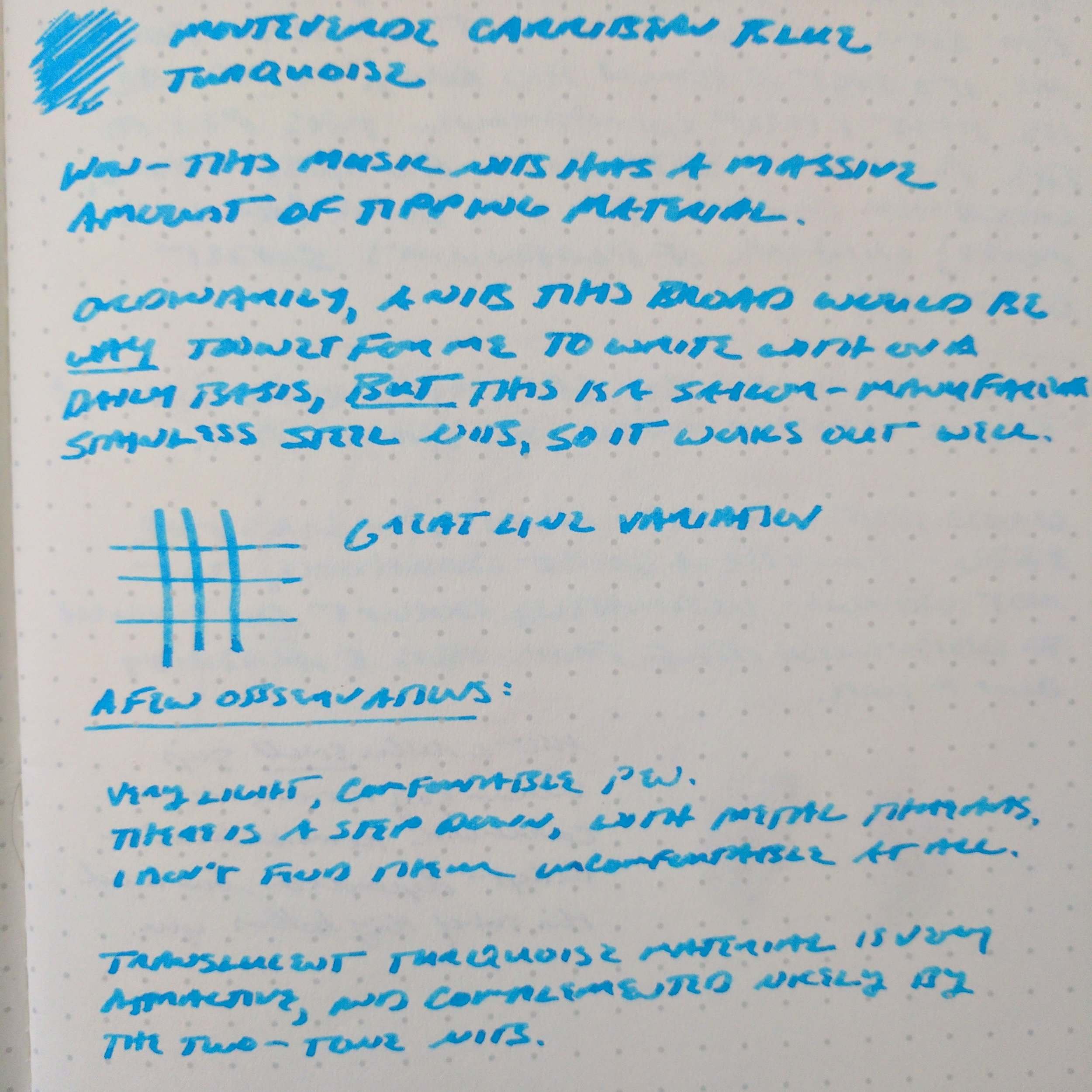 The review ink here is  Monteverde Caribbean Blue . This Sailor steel music nib gave me decent line variation, and wrote a slightly narrower line than its 18k and 14k equivalents.