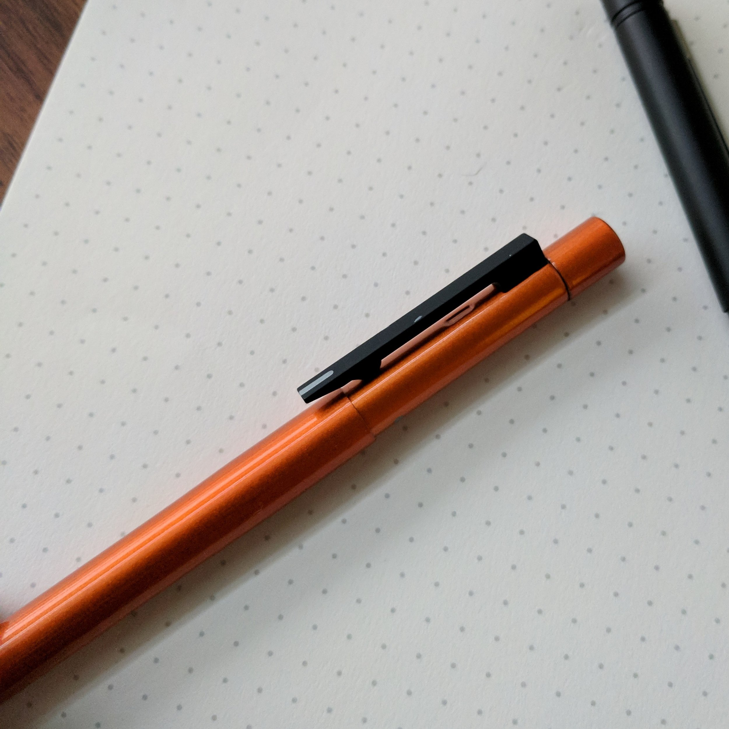 One drawback - the coating on the matte black clip tends to scratch, so I'll have to ding Tombow a little for that. Still, it's held up pretty well, considering how hard I've used this, slinging it around in bags and pockets.