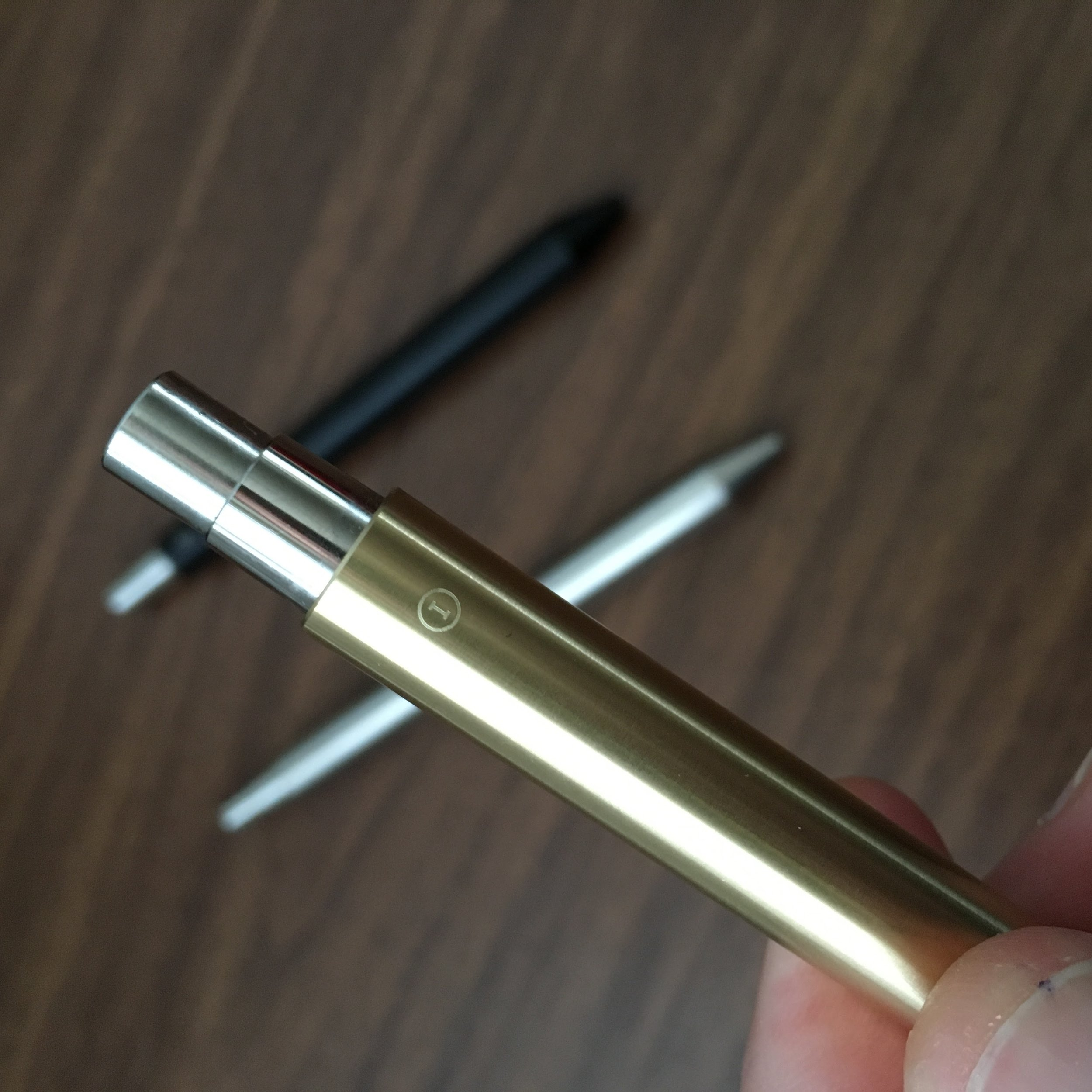 Logo on New Brass Pen (Pre-Patina)