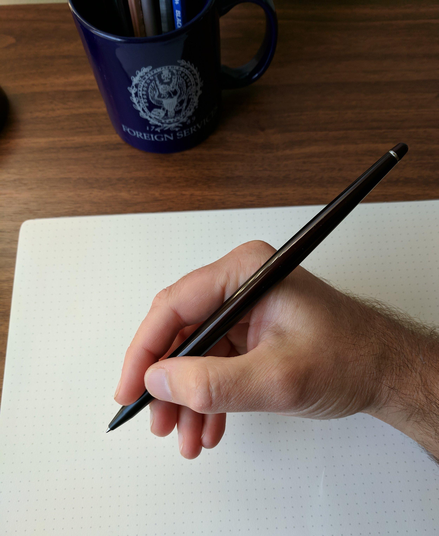 Retro 51 Desk Pen in hand