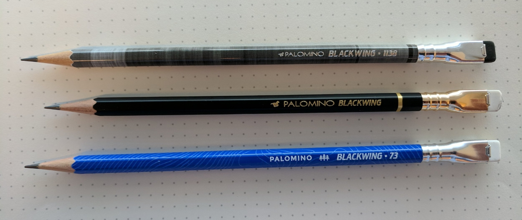 Blackwing original (center) with the  Blackwing Volume 1138  (top) and  Volume 73  (bottom).