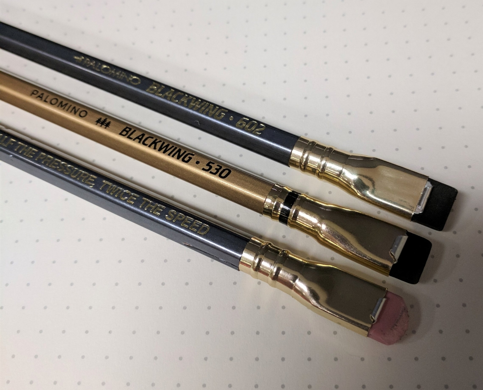 "The Blackwing 530, one of the limited Blackwing ""Volumes"", included a black stripe on the ferrule - a design element that appeared on some, but not all, vintage Blackwings. I love the look of the ferrule stripe."