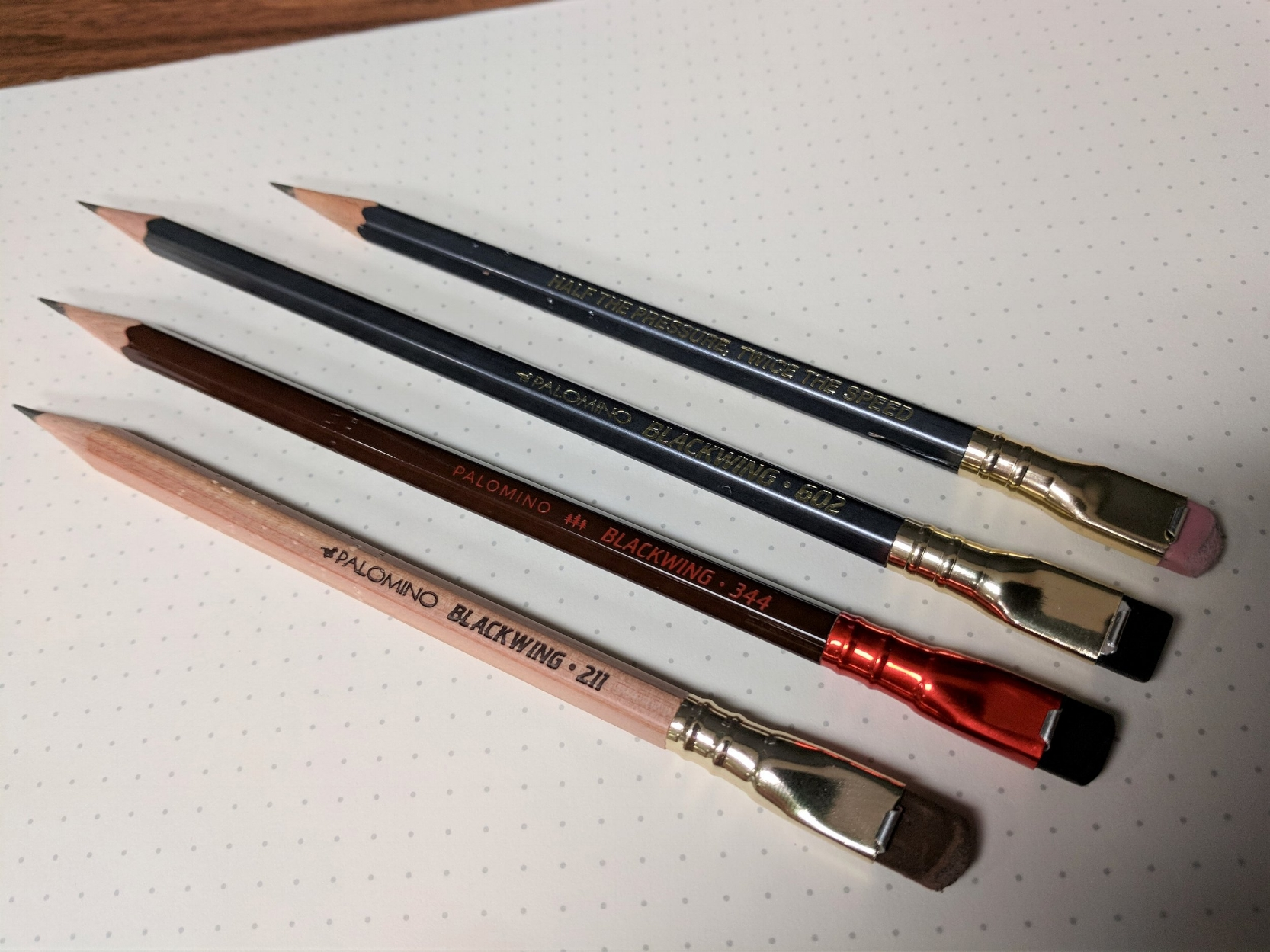 I own two of the Blackwing Volumes editions that featured the 602 core: the Blackwing 211 (John Muir) and the Blackwing 344 (Dorothea Lange). The Blackwing 344 features the most recent logo and branding.