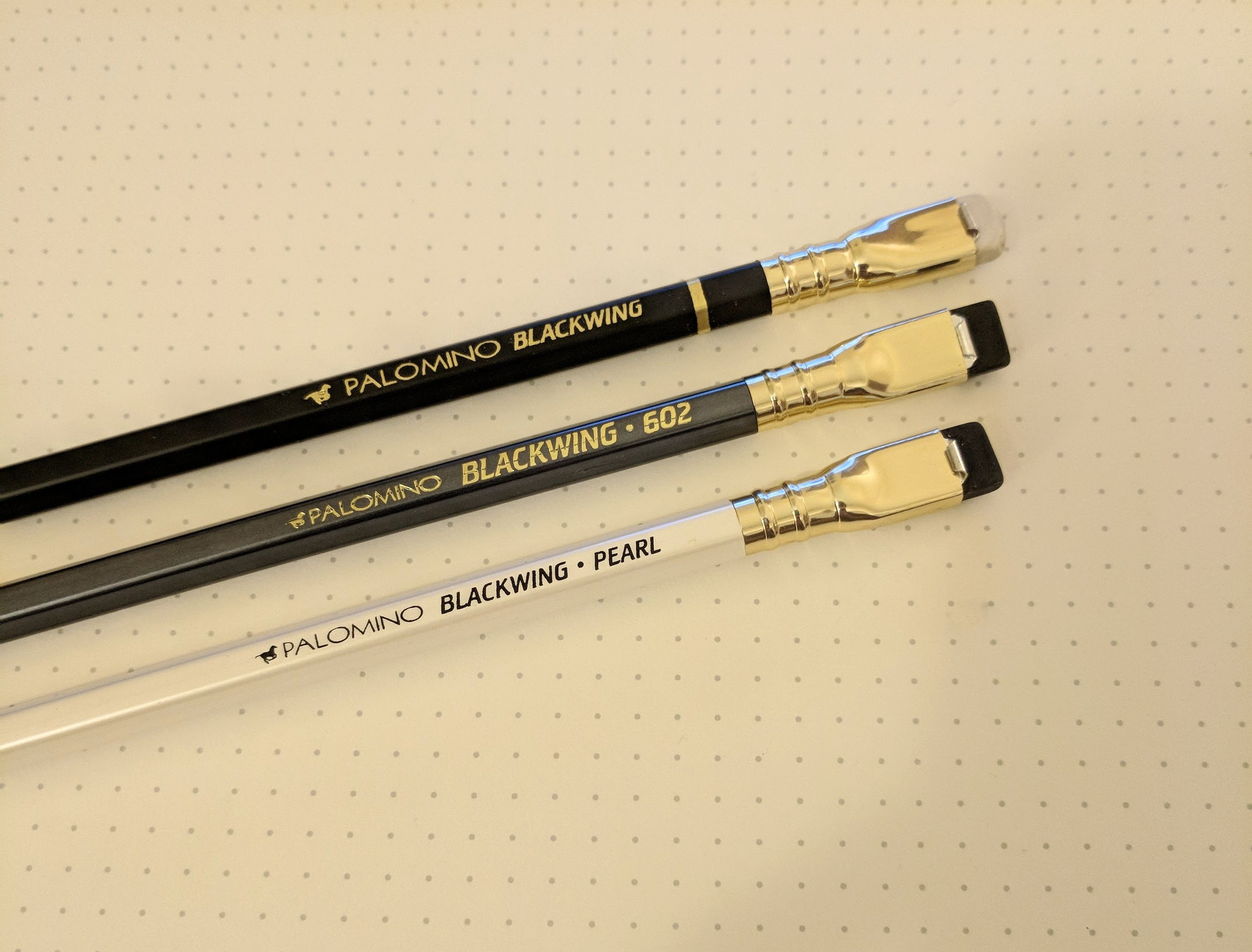 The three Blackwing finishes, from top: (1) Blackwing original; (2) Blackwing 602; and (3) Blackwing Pearl