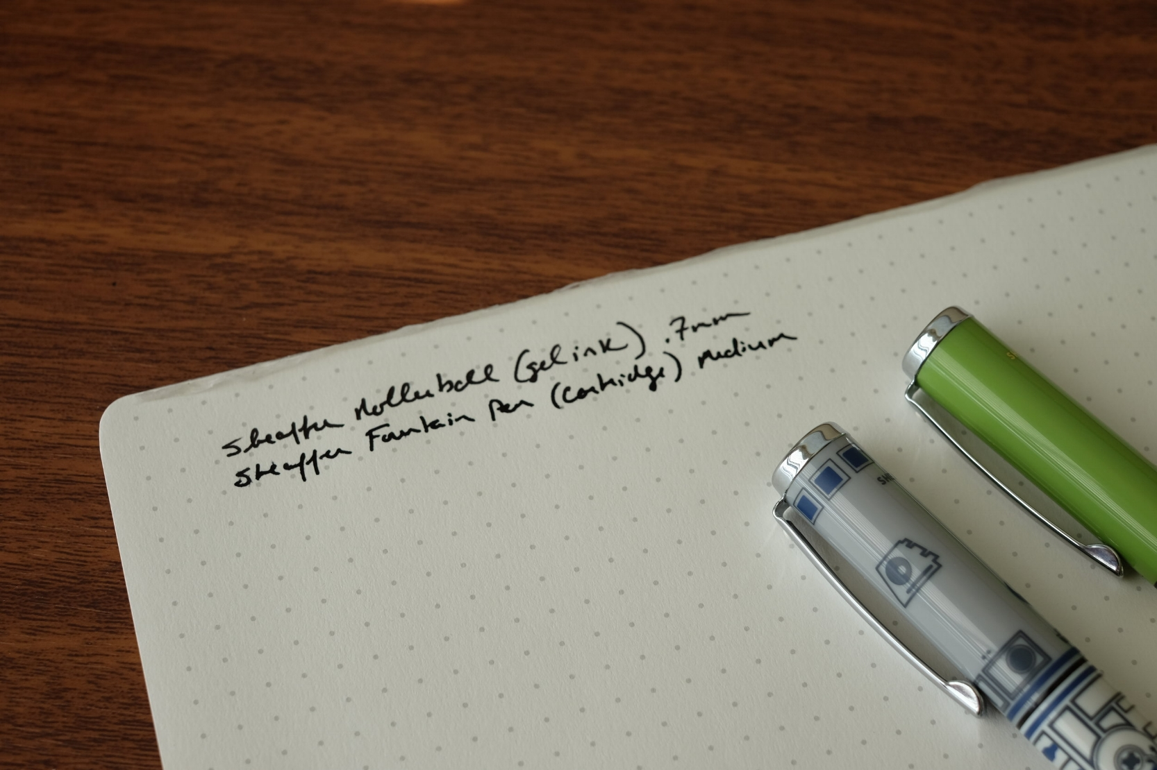 Writing Sample, in black gel and fountain pen ink. The Sheaffer fountain pen comes with one Sheaffer proprietary cartridge.