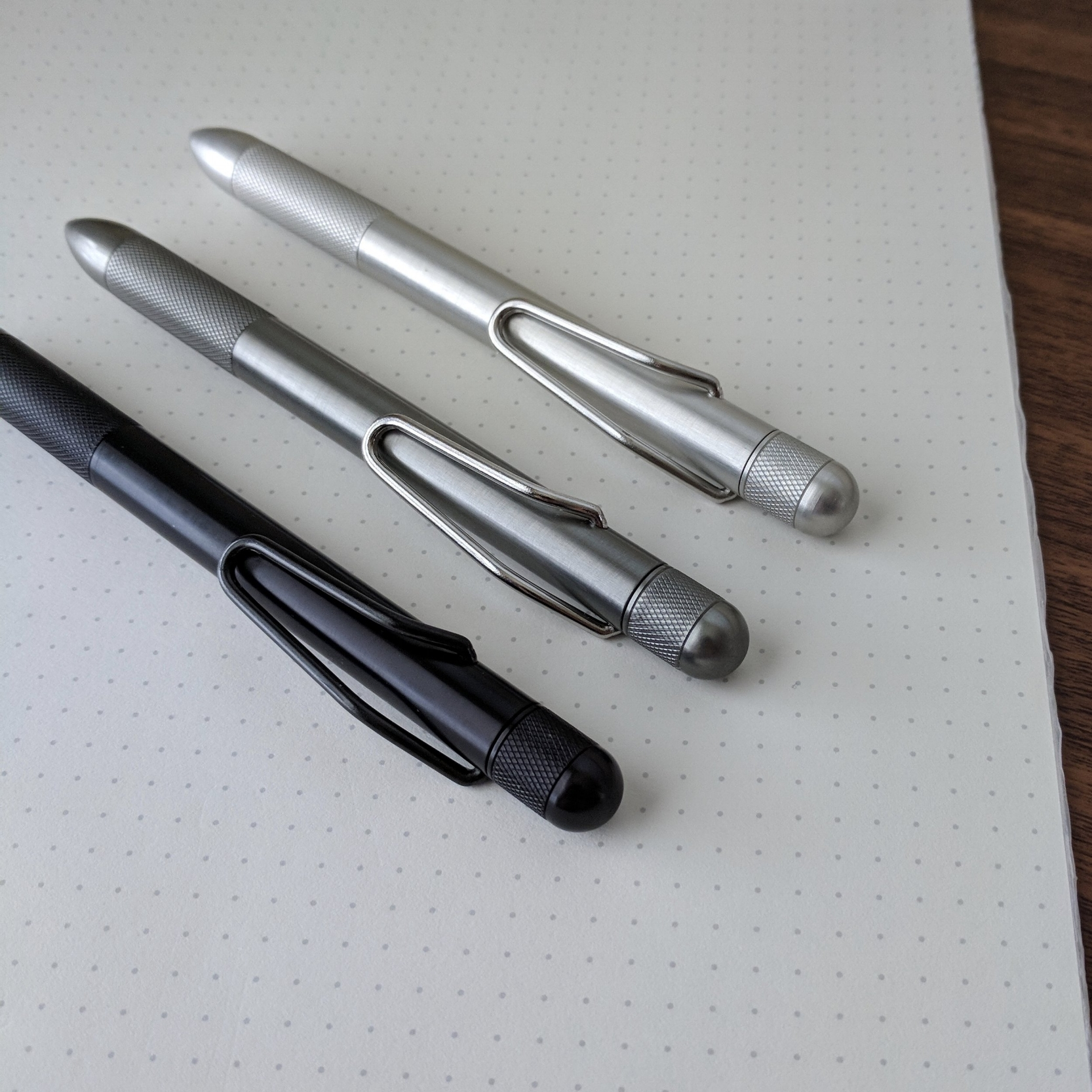 The RIIND Pen is currently available in three colors: Black, Gray, and Clear Anodized. You can order the black pen with either a black or polished clip.