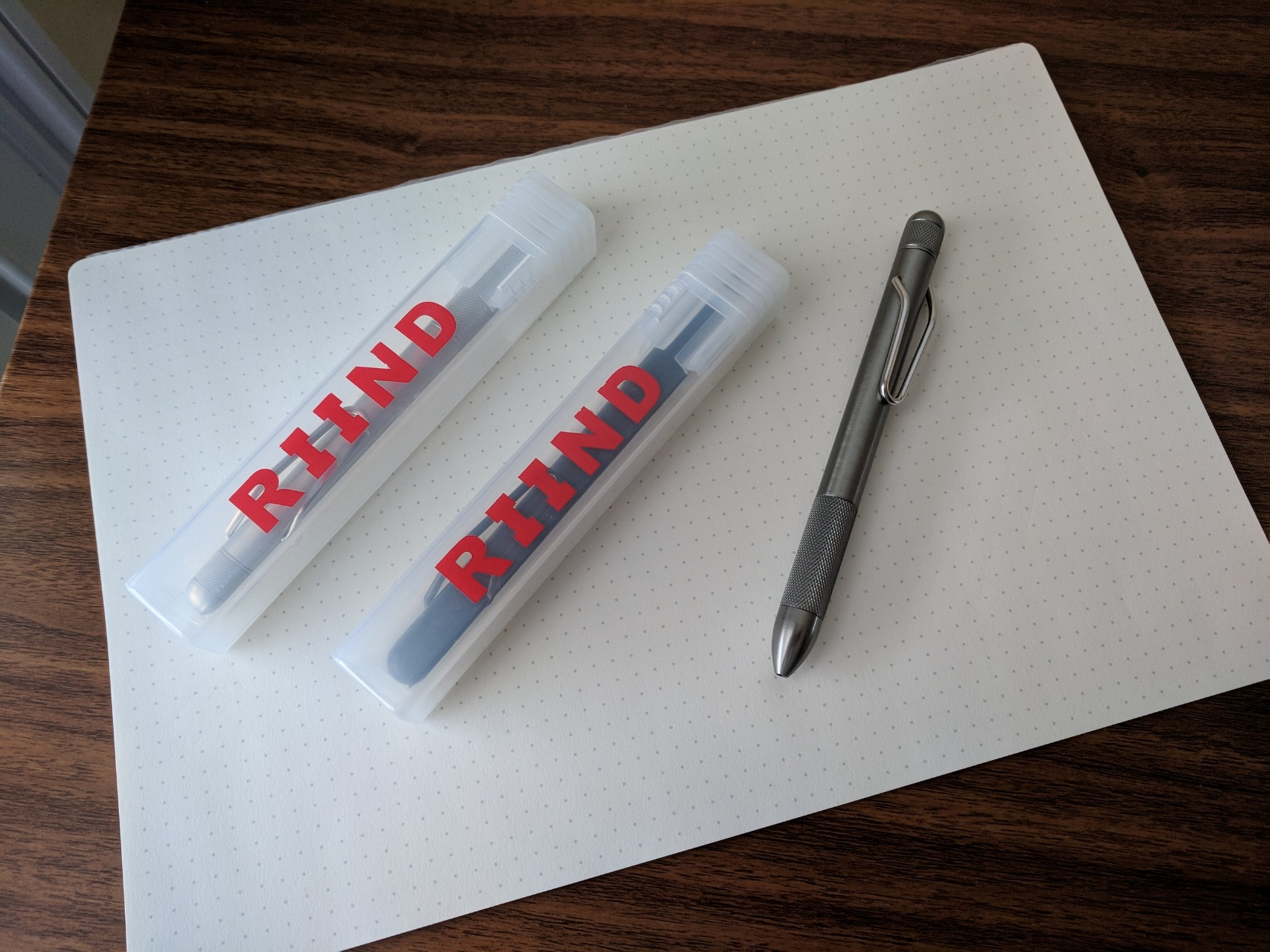 The RIIND packaging is minimal AND reusable. I love these pen tubes, which come in handy for storing and protecting pens should you need to ship them.