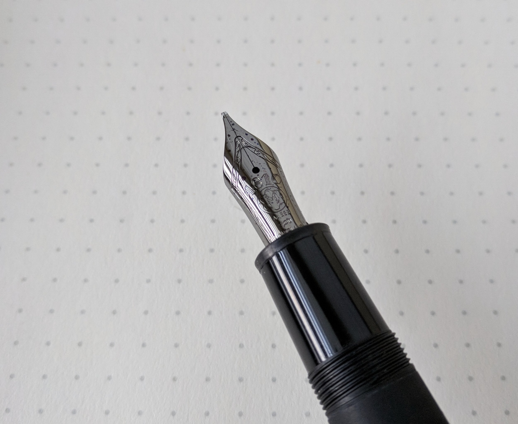 The ruthenium plated nib on my Montblanc 146 Ultra Black.