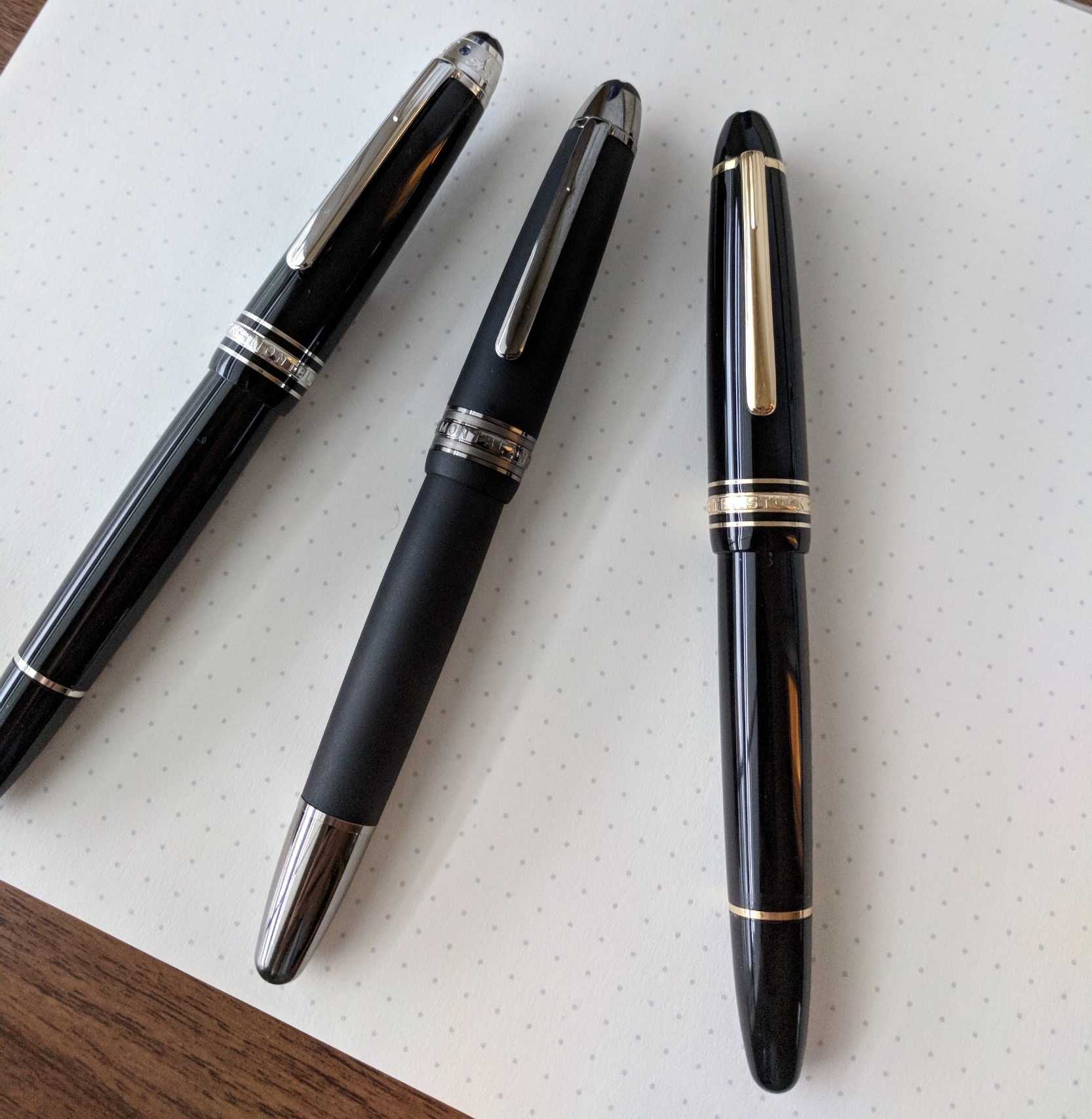 From Left: The Montblanc 146 UNICEF Special Edition; the Montblanc 146 Ultra Black, and my standard 146 (1980s era).