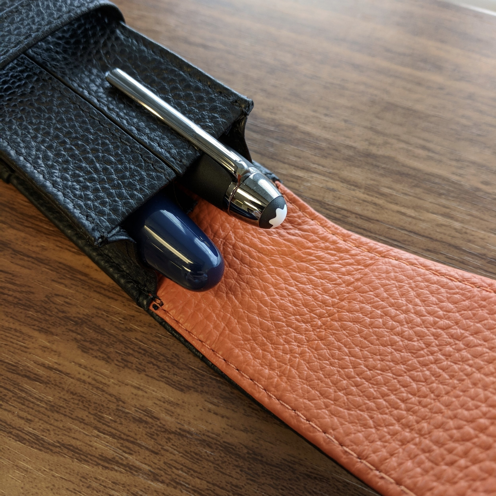 The size of the dream pen is roughly equivalent to a  Montblanc 146 , though slightly fatter and longer. Both pens shown here in a Wancher leather two-pen case.