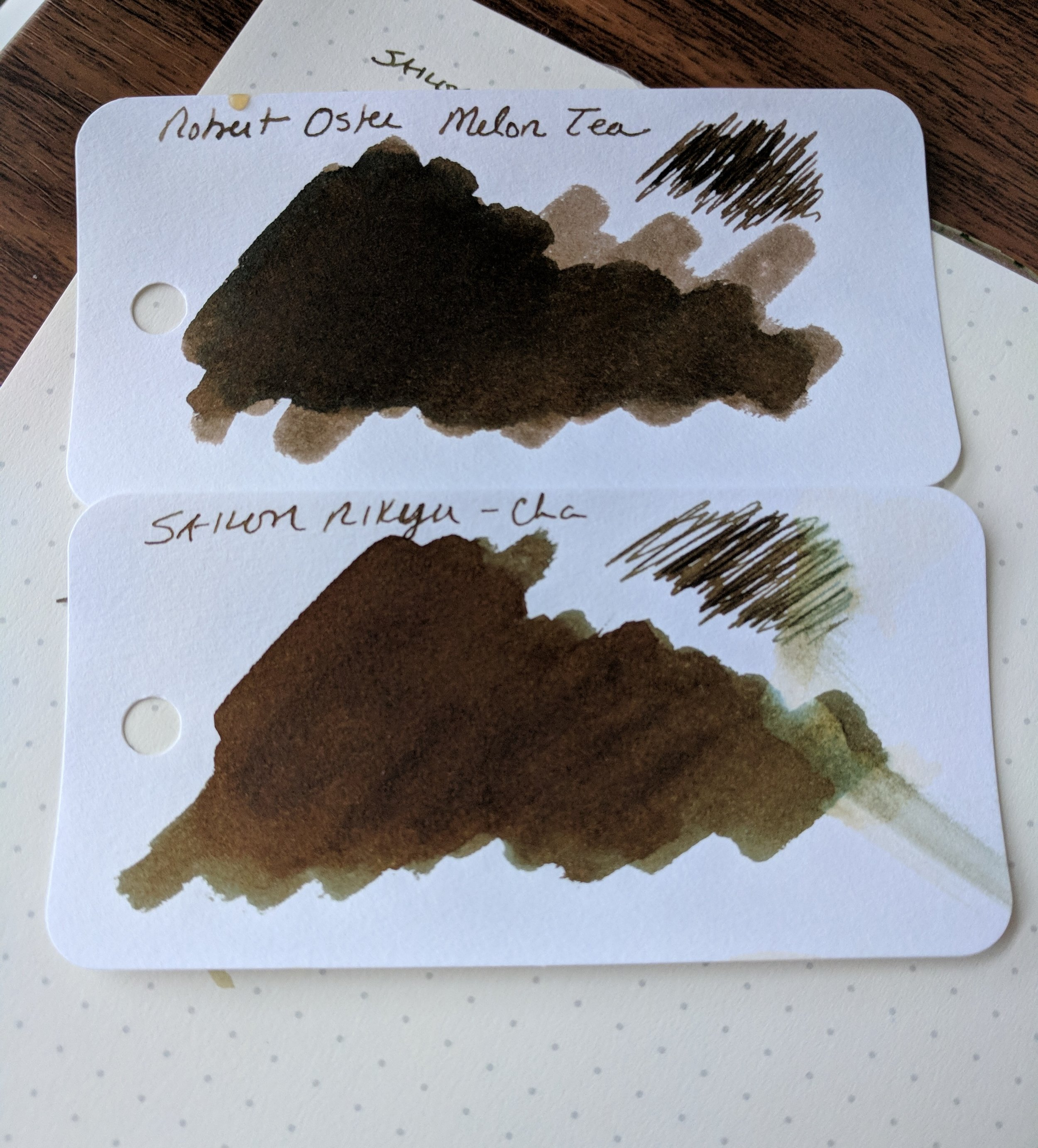 Robert Oster Signature Melon Tea dries quite a bit darker. You can see the green (and even a bit bluish) undertones to the Rikyu-Cha from where I dripped coffee on the swab.  Intentionally, I promise.