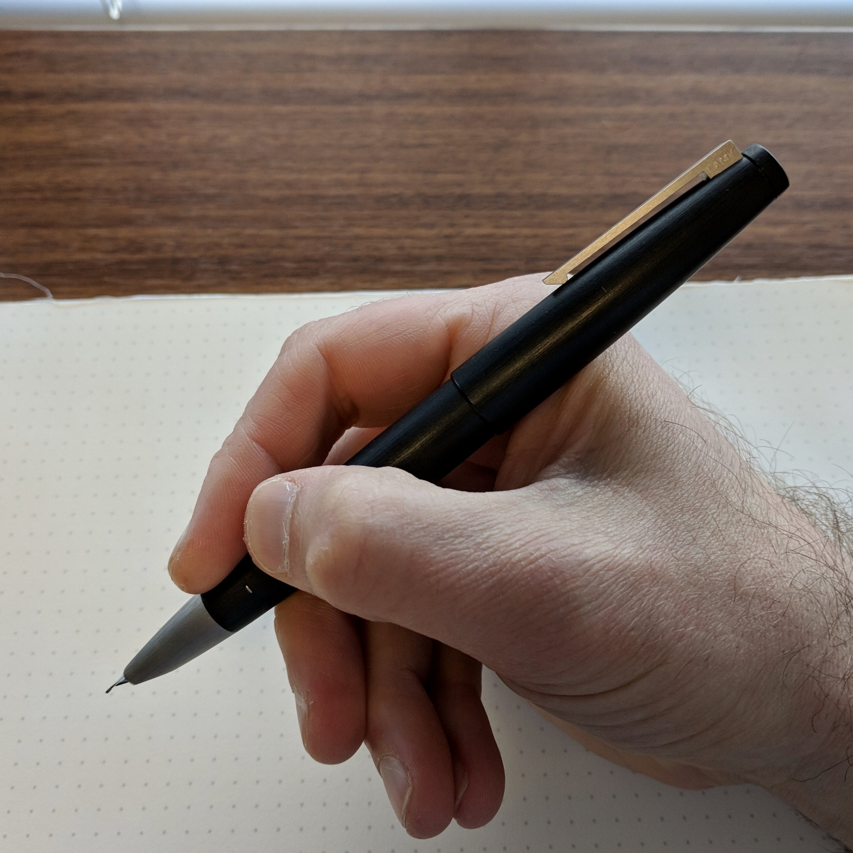 The Lamy 2000,  posted, is the perfect length for me.