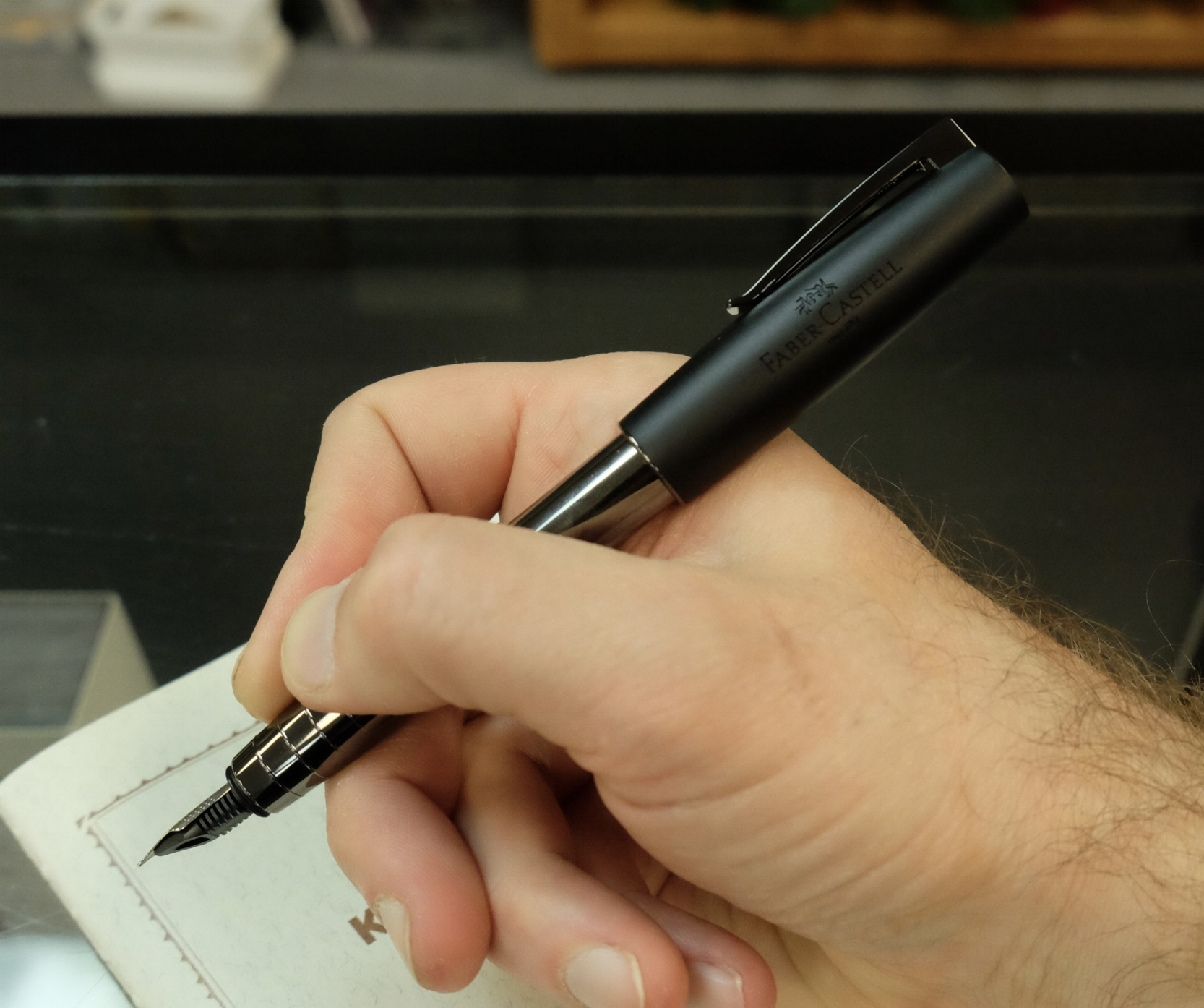 The Shiny Gunmetal version, which I demoed in-store at Vanness. The pen sits nicely in the hand, and is a great length.